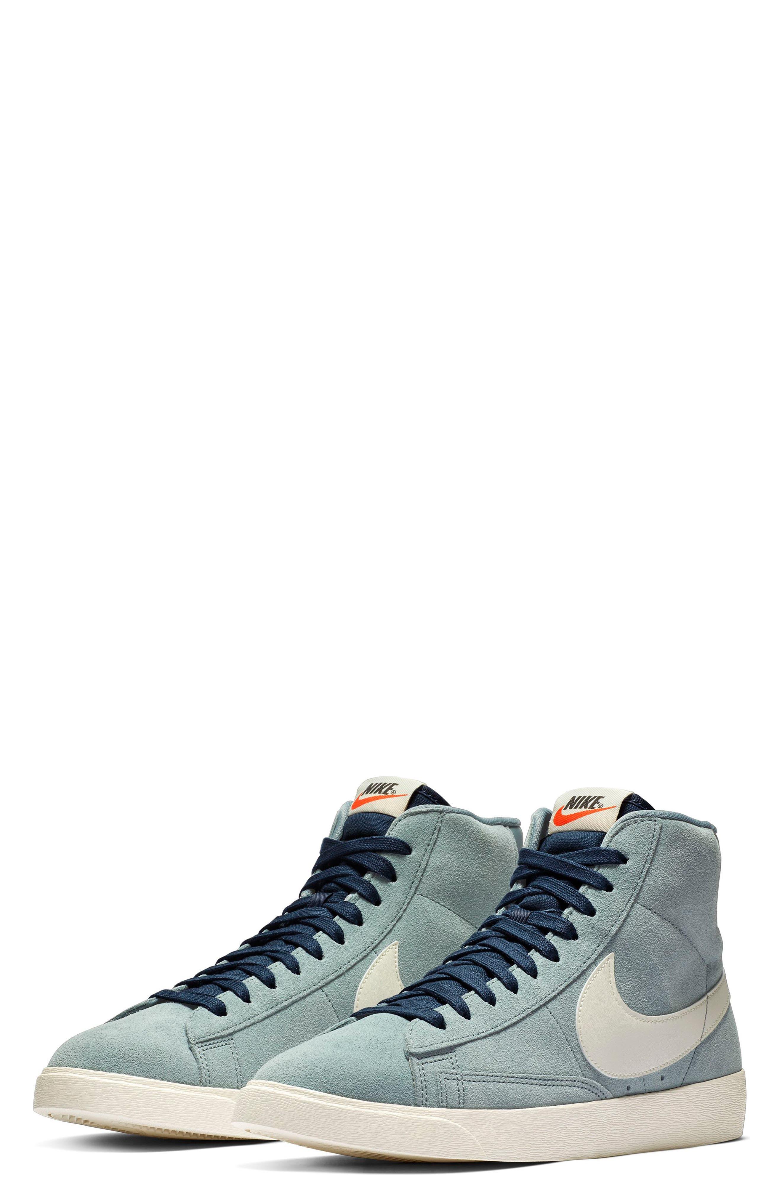 NIKE, Blazer Mid Vintage Sneaker, Main thumbnail 1, color, AVIATOR GREY/ SAIL/ BLUE