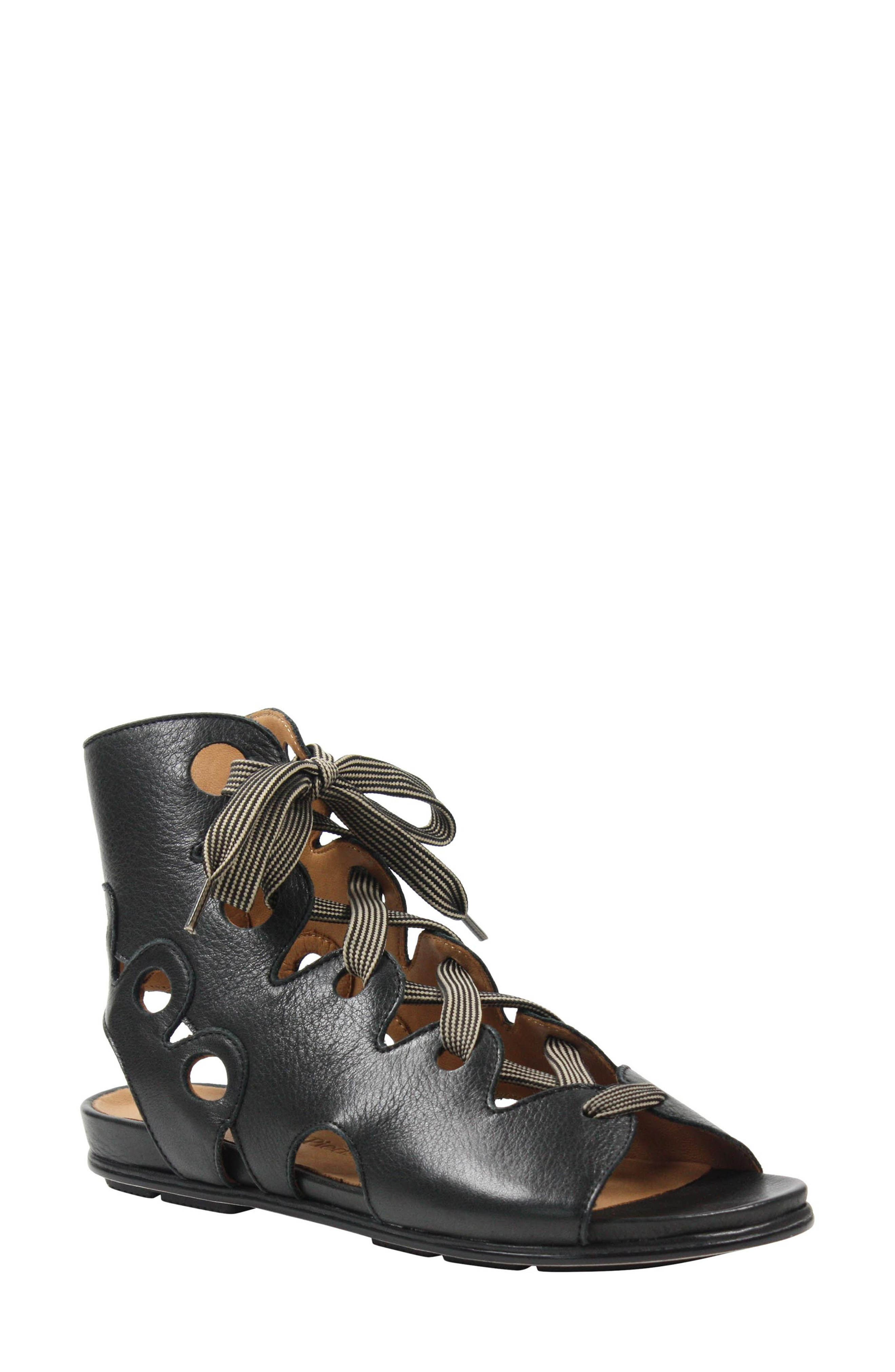 L'AMOUR DES PIEDS Dionisa Sandal, Main, color, BLACK LEATHER