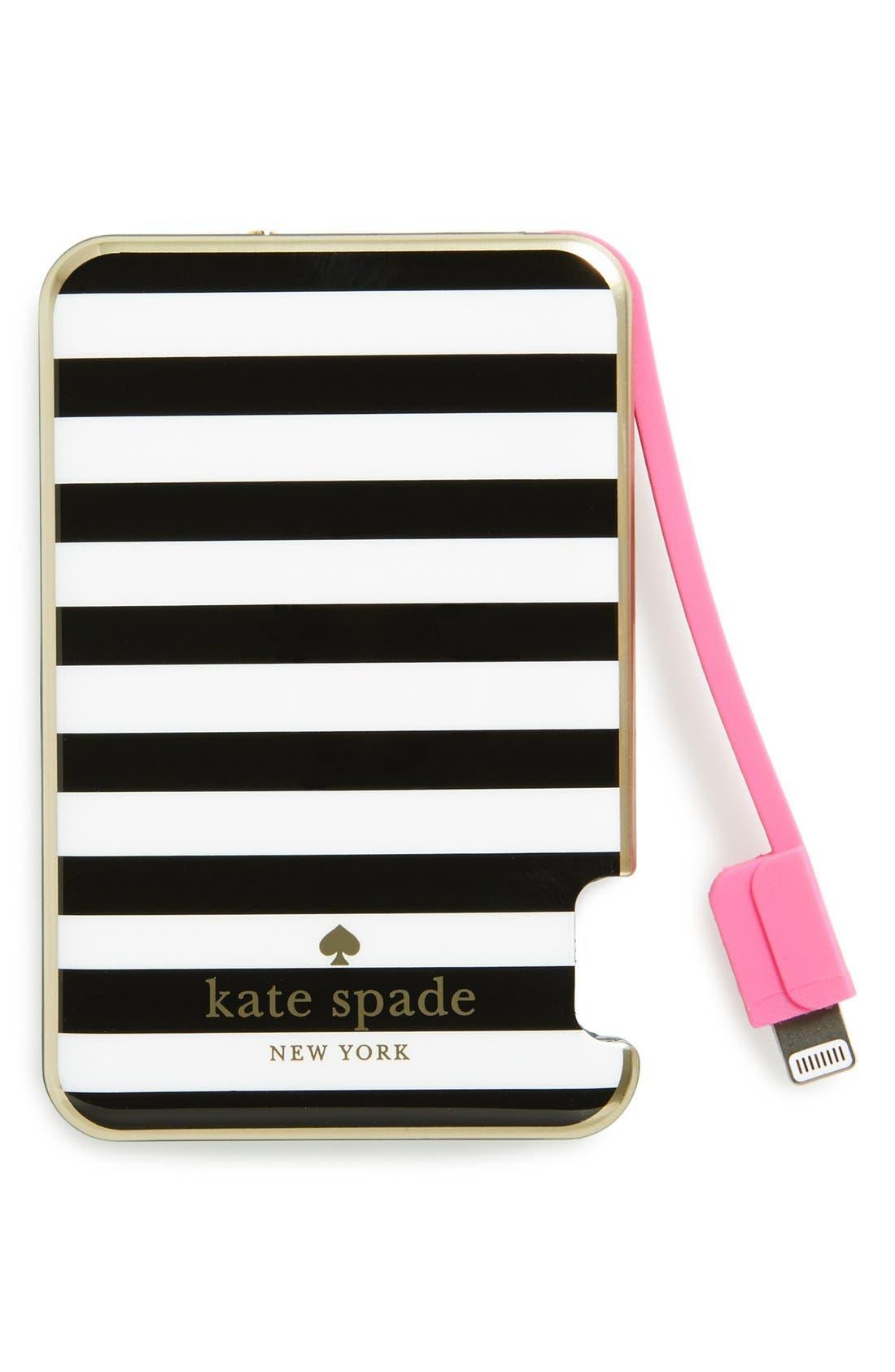KATE SPADE NEW YORK, katespade new yorkslim portable charger, Main thumbnail 1, color, 001