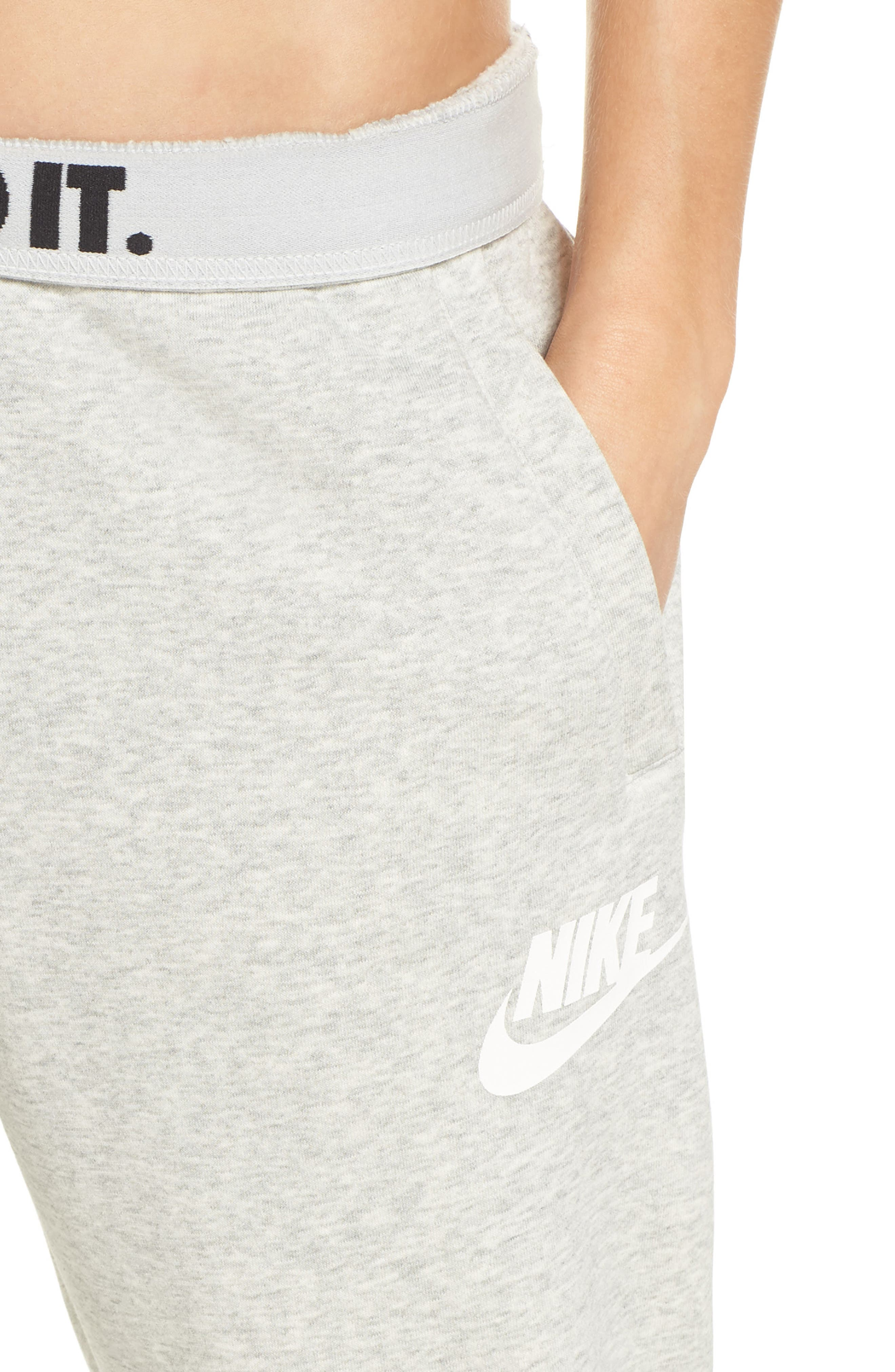 NIKE, Sportswear Rally Jogger Pants, Alternate thumbnail 5, color, GREY HEATHER/ PALE GREY/ WHITE