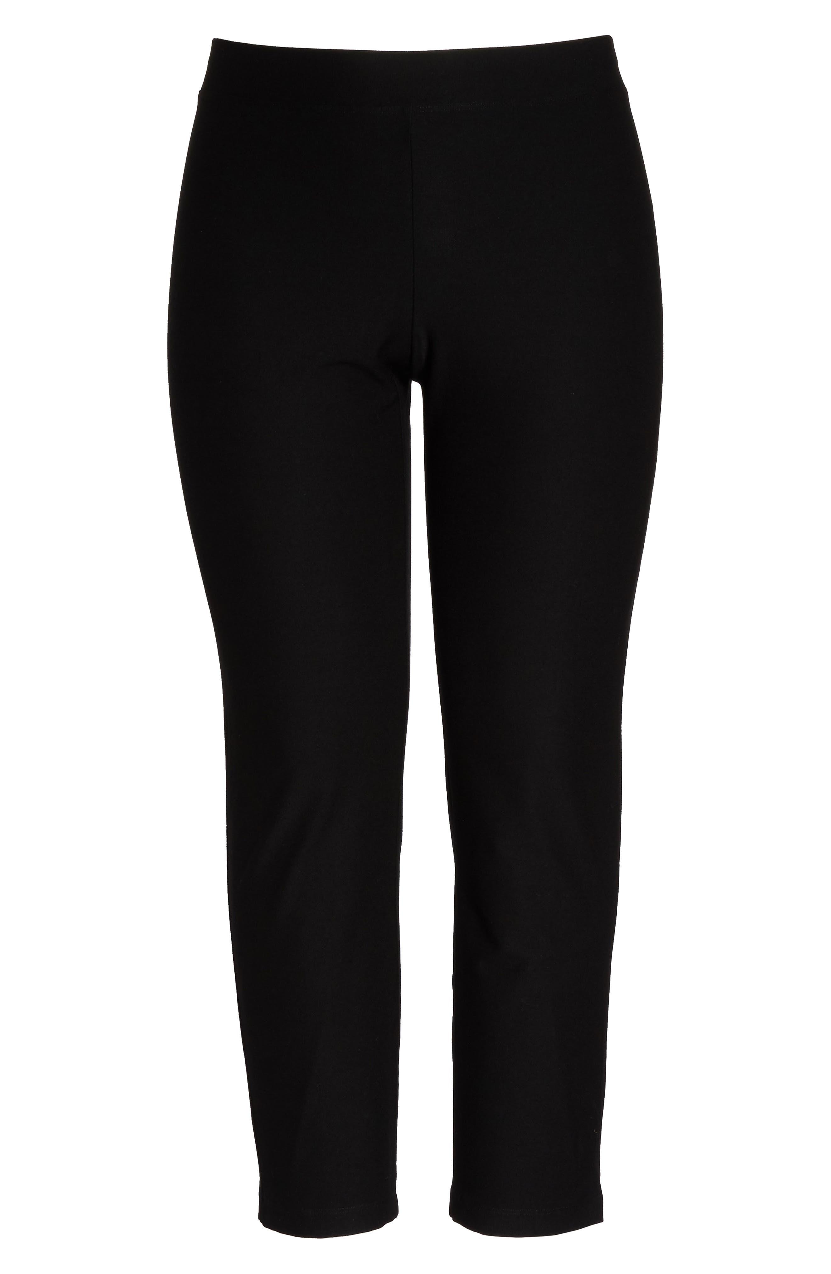 EILEEN FISHER, Crepe Ankle Pants, Main thumbnail 1, color, BLACK