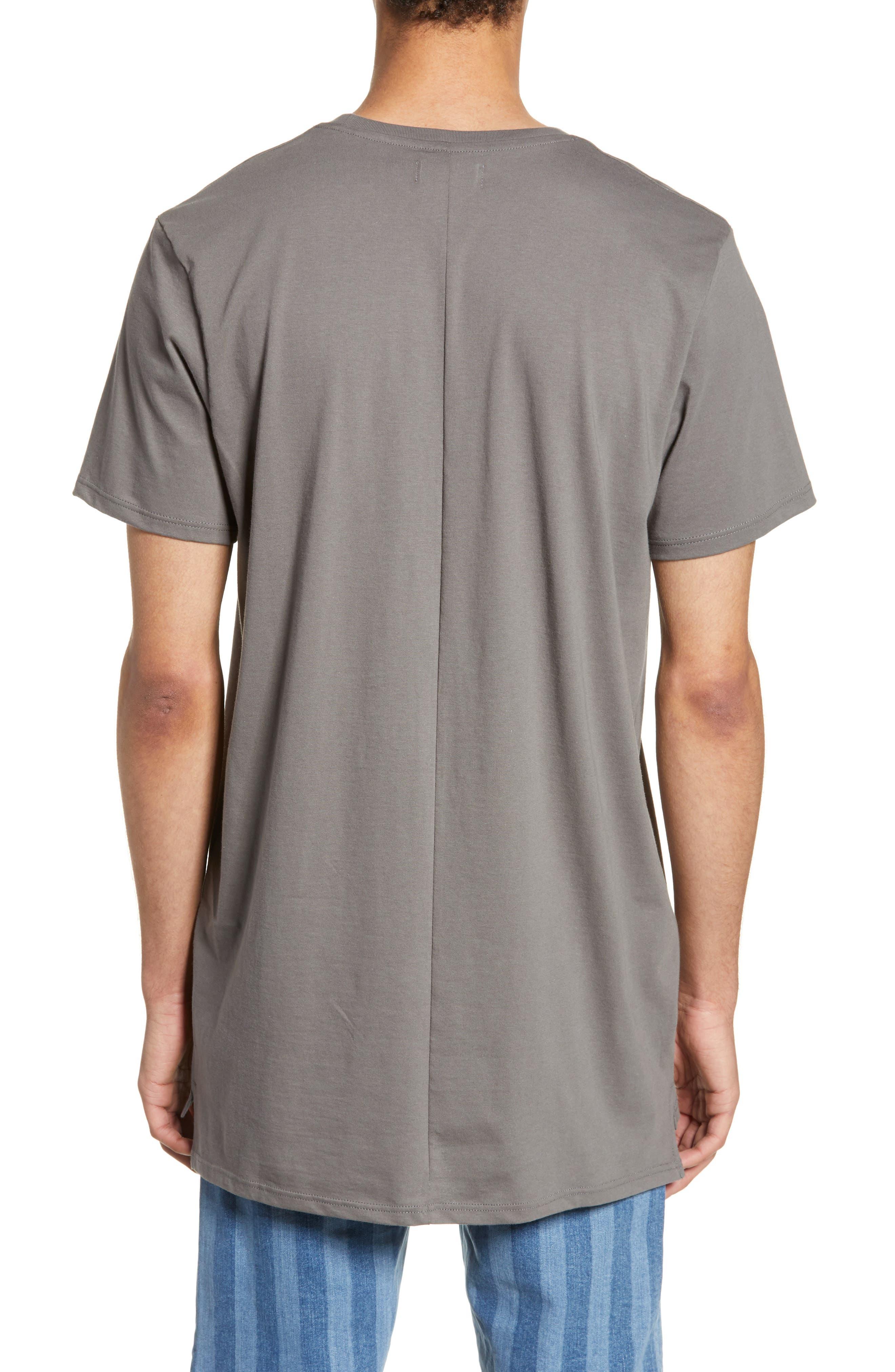 TOPMAN, Longline T-Shirt, Alternate thumbnail 2, color, GREY