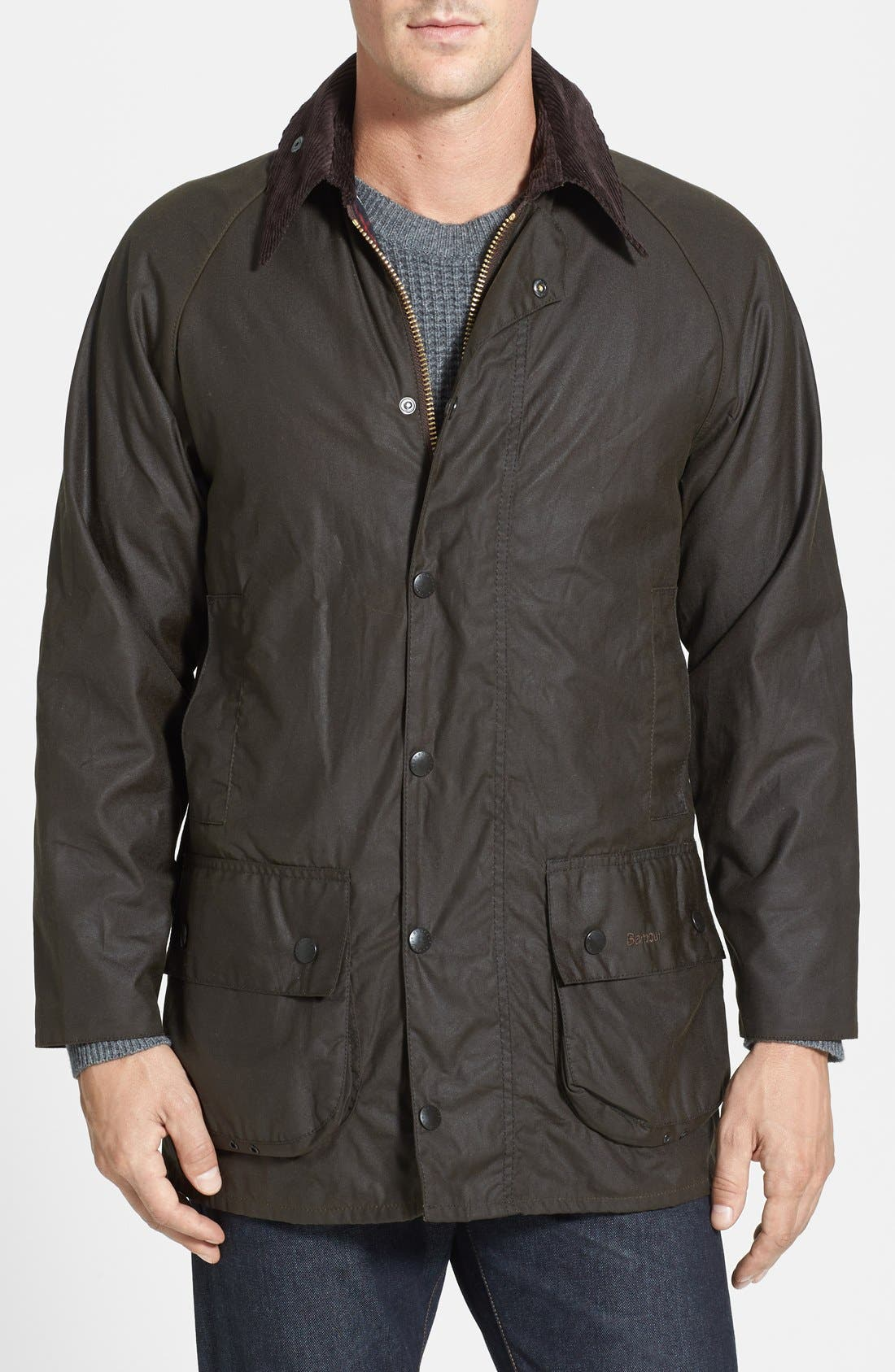 BARBOUR, 'Classic Beaufort' Relaxed Fit Waxed Cotton Jacket, Main thumbnail 1, color, OLIVE