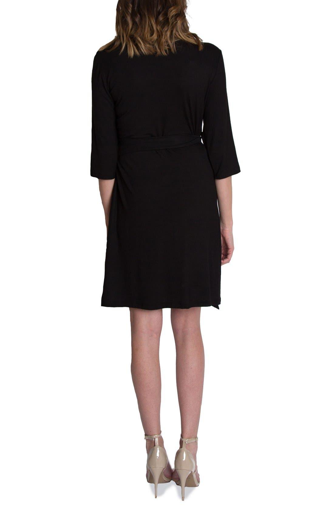 UDDERLY HOT MAMA, 'Whimsical' Nursing Wrap Dress, Alternate thumbnail 2, color, BLACK