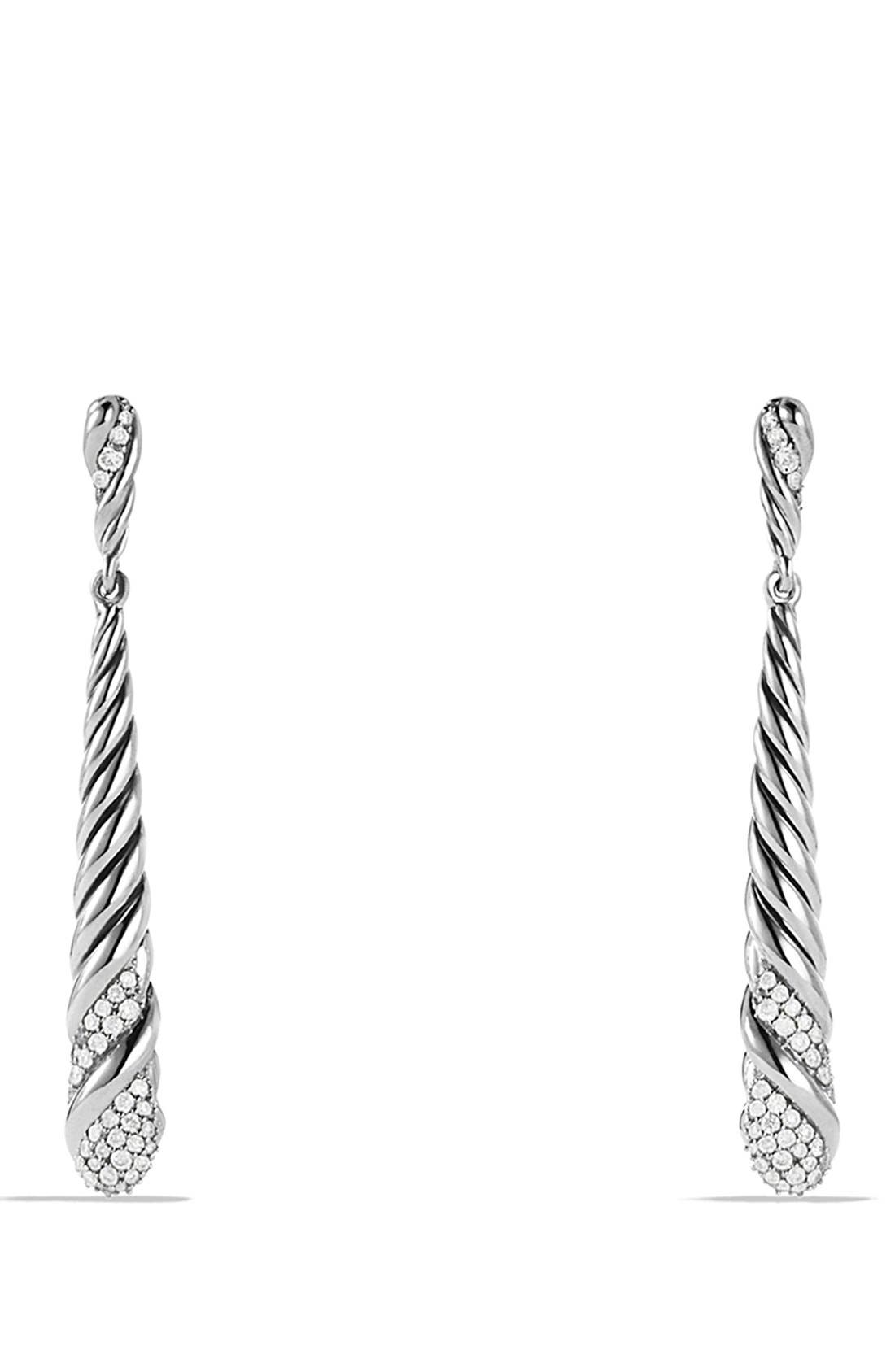 DAVID YURMAN 'Willow' Medium Drop Earrings with Diamonds, Main, color, 040