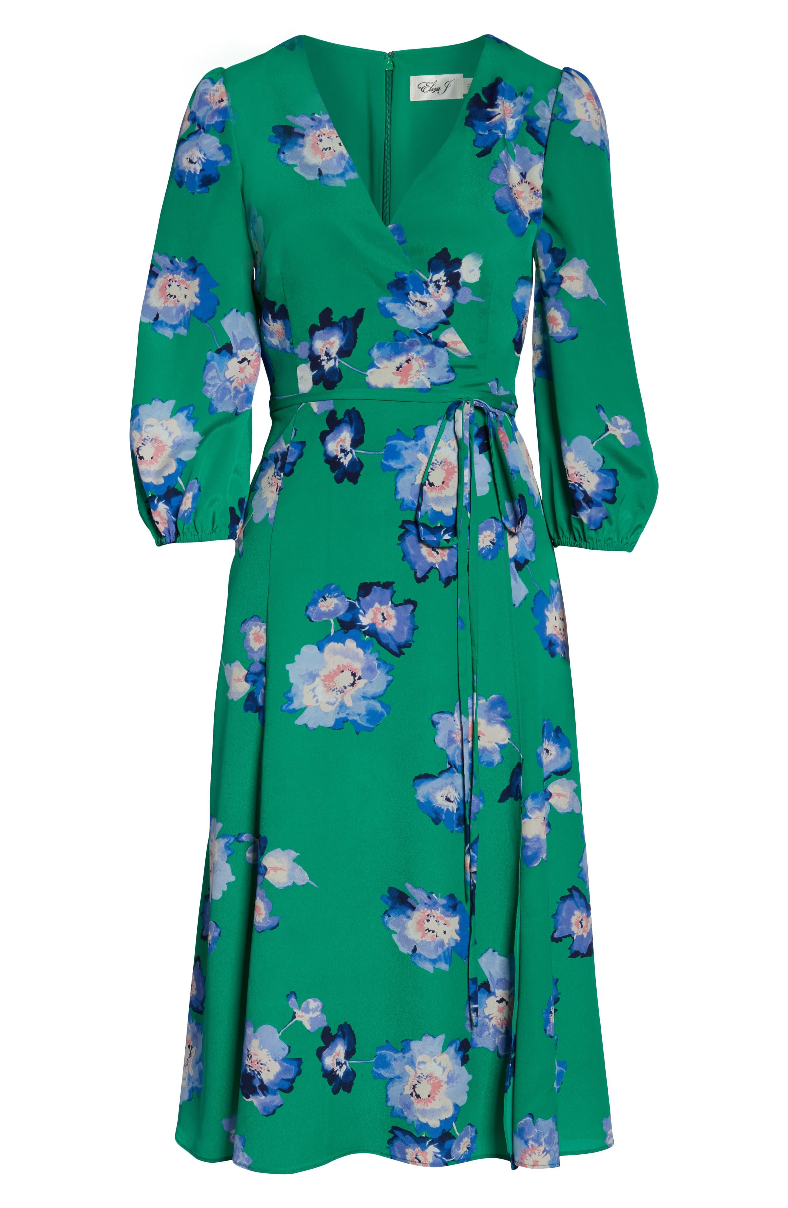 ELIZA J, Blouson Sleeve Wrap Midi Dress, Alternate thumbnail 7, color, GREEN