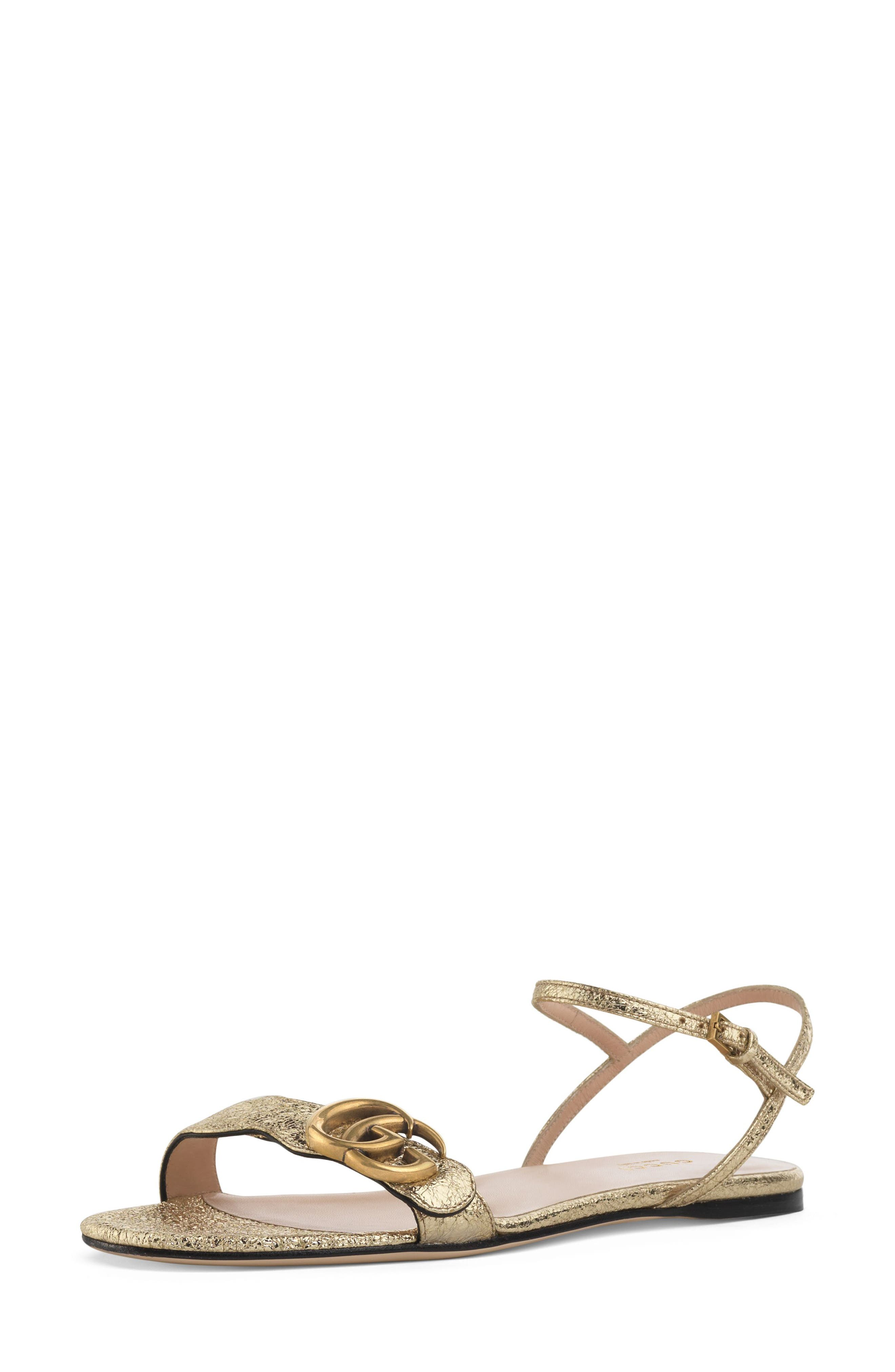 GUCCI Marmont Quarter Strap Flat Sandal, Main, color, PLATINO