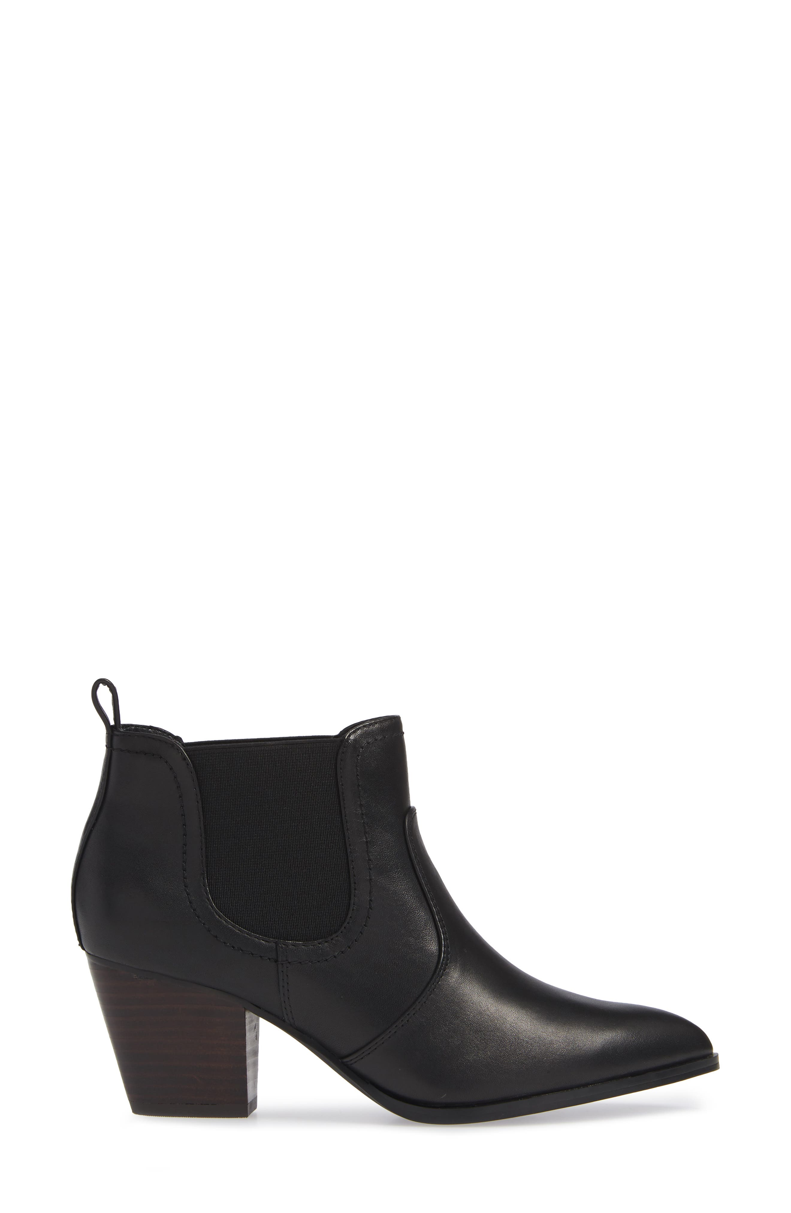 BELLA VITA, Emerson Chelsea Bootie, Alternate thumbnail 3, color, BLACK LEATHER