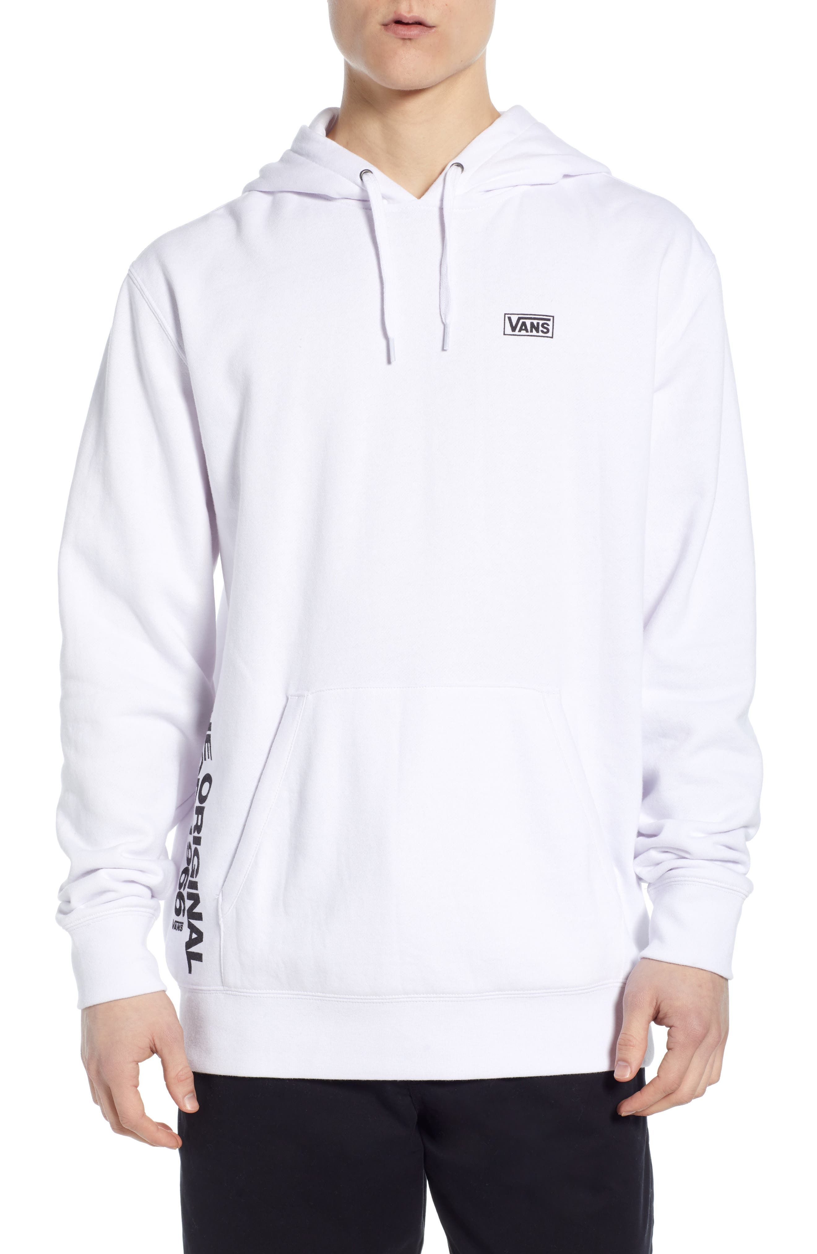 VANS Off the Wall Distort Hooded Sweatshirt, Main, color, WHITE