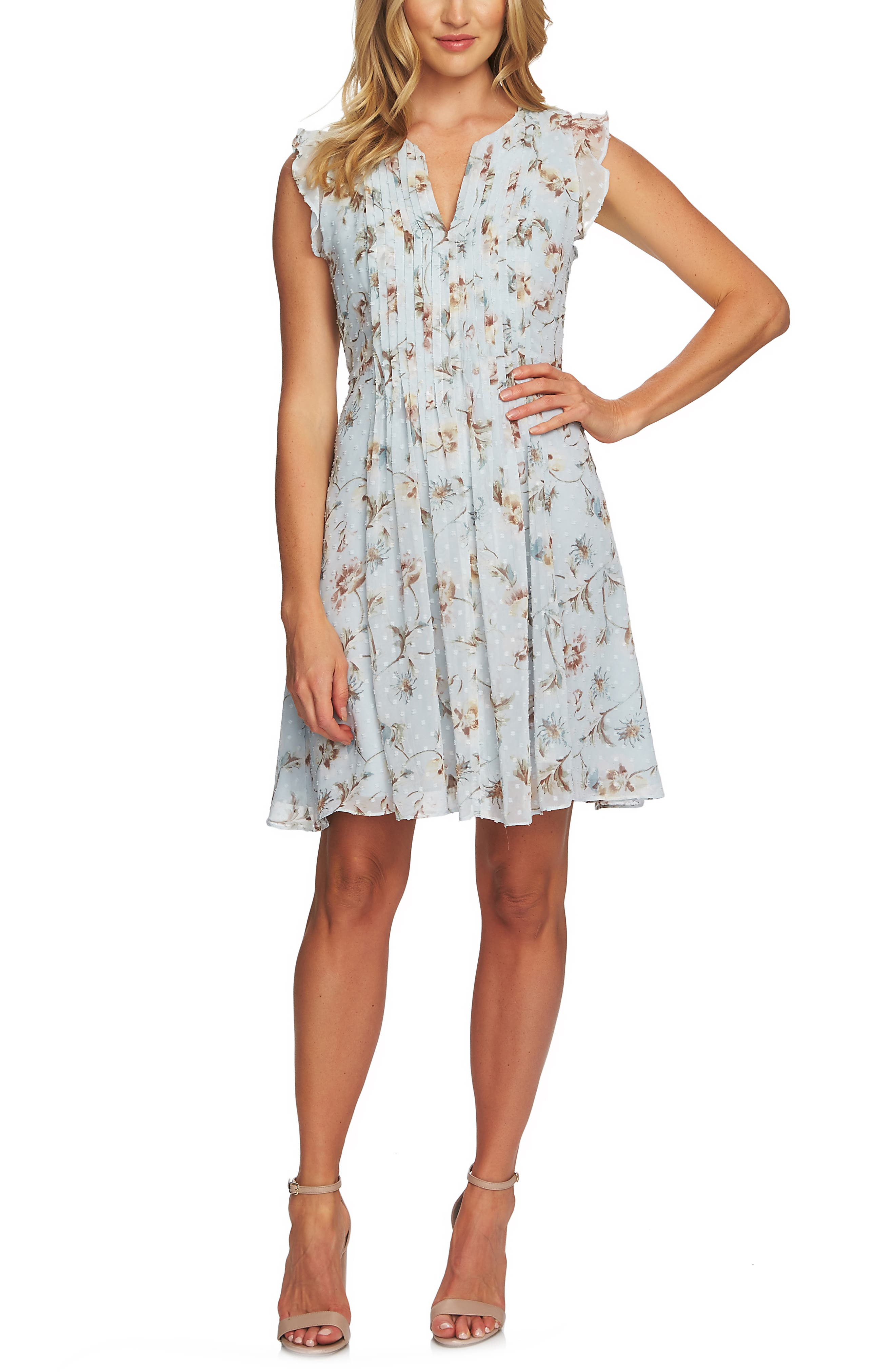 CECE, Duchess Floral Print Flutter Sleeve Dress, Main thumbnail 1, color, PEARL DROP