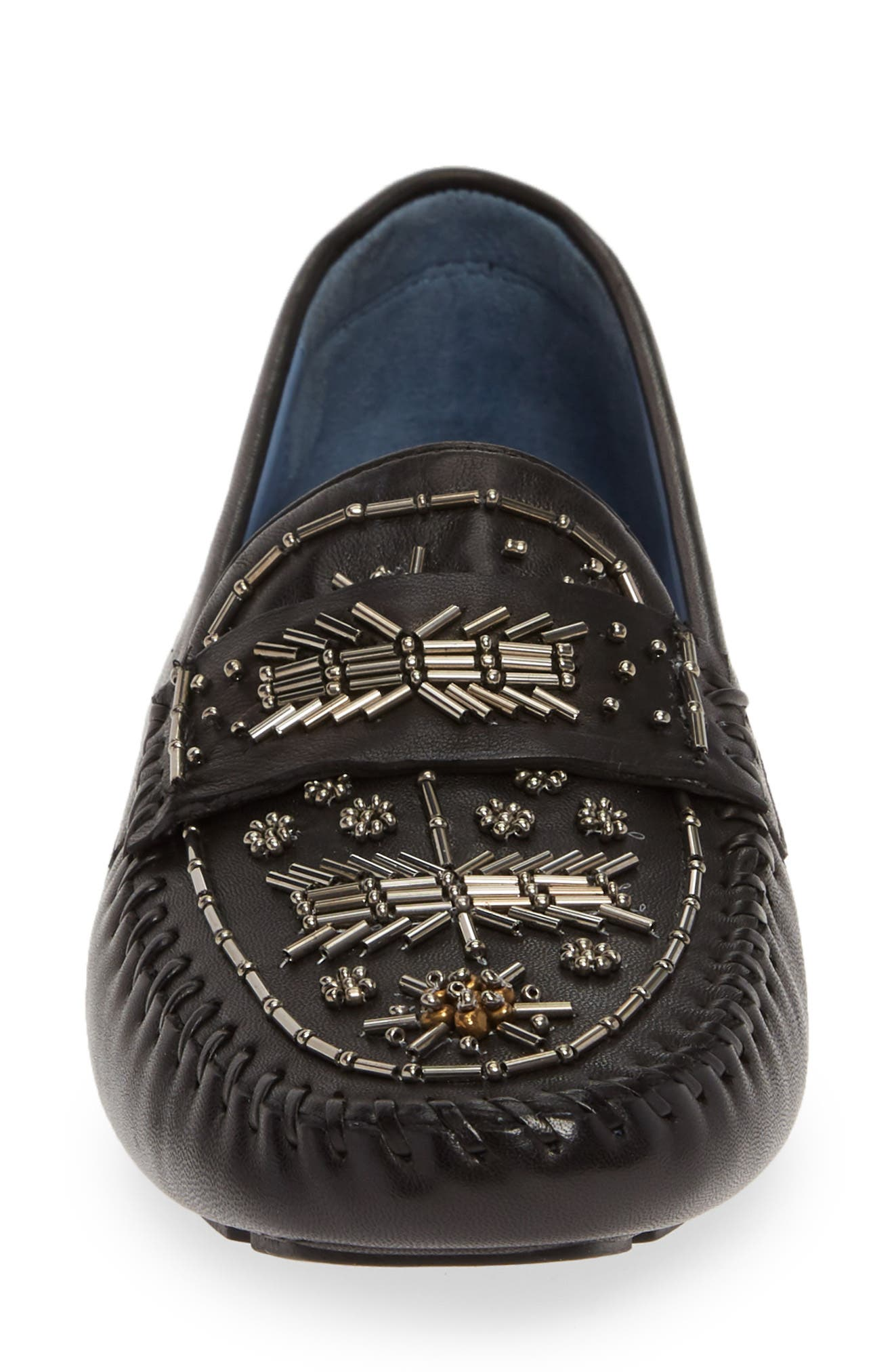 ROBERT ZUR, Majorca Embellished Loafer, Alternate thumbnail 4, color, BLACK TGLOVE