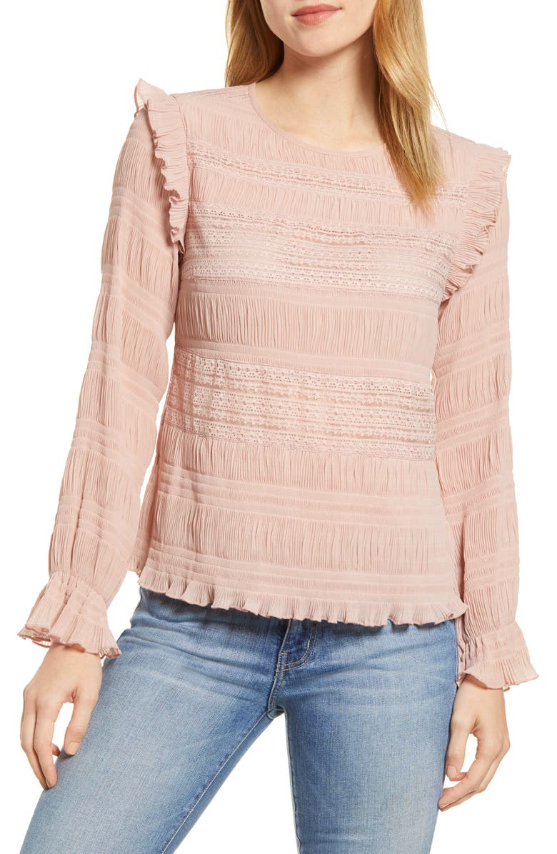 Velvet By Graham & Spencer Tops LACE RUCHED GEORGETTE BLOUSE