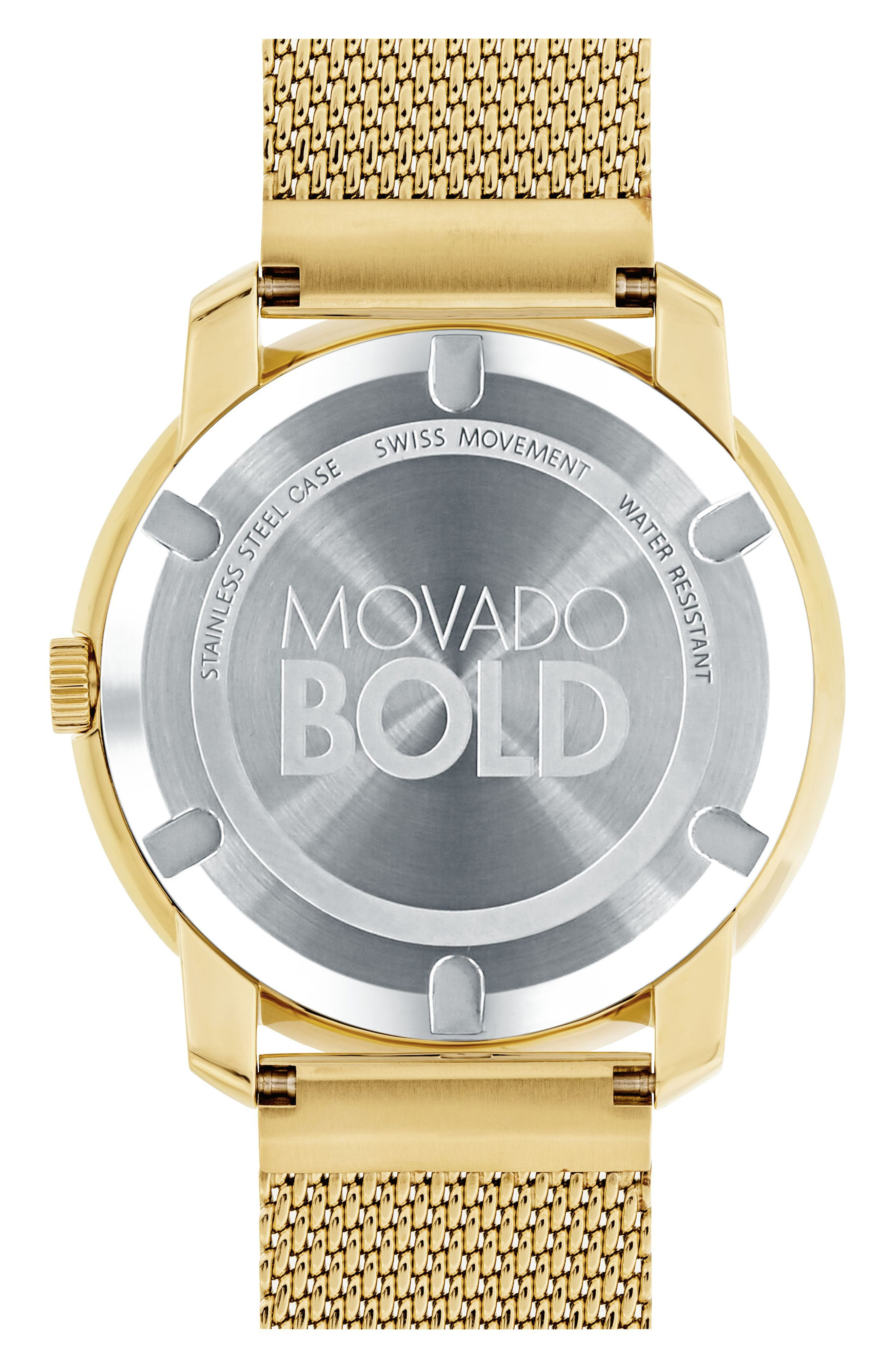 MOVADO, 'Bold' Mesh Strap Watch, 44mm, Alternate thumbnail 2, color, GOLD