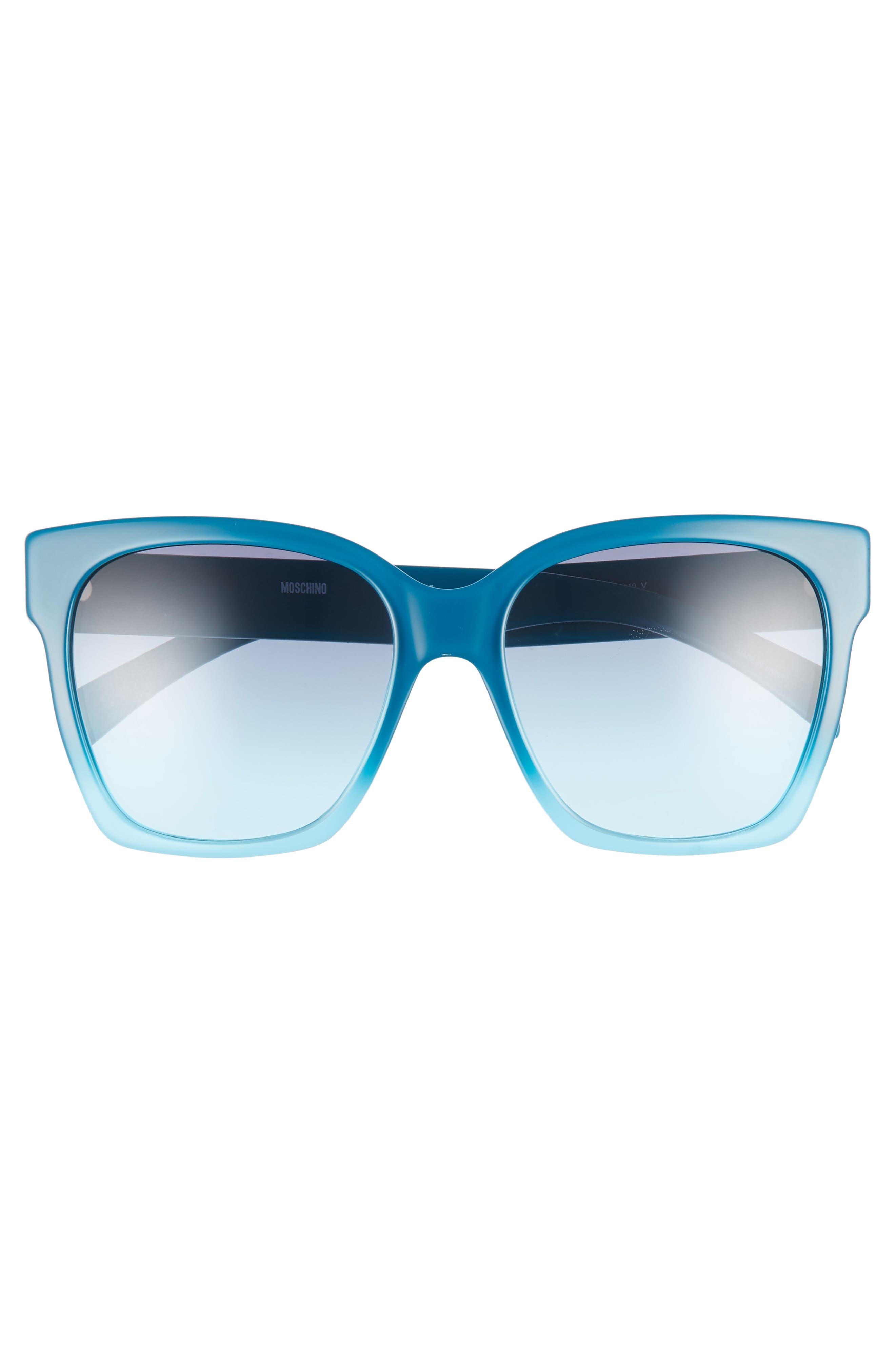 MOSCHINO, 56mm Sunglasses, Alternate thumbnail 3, color, TEAL TEA