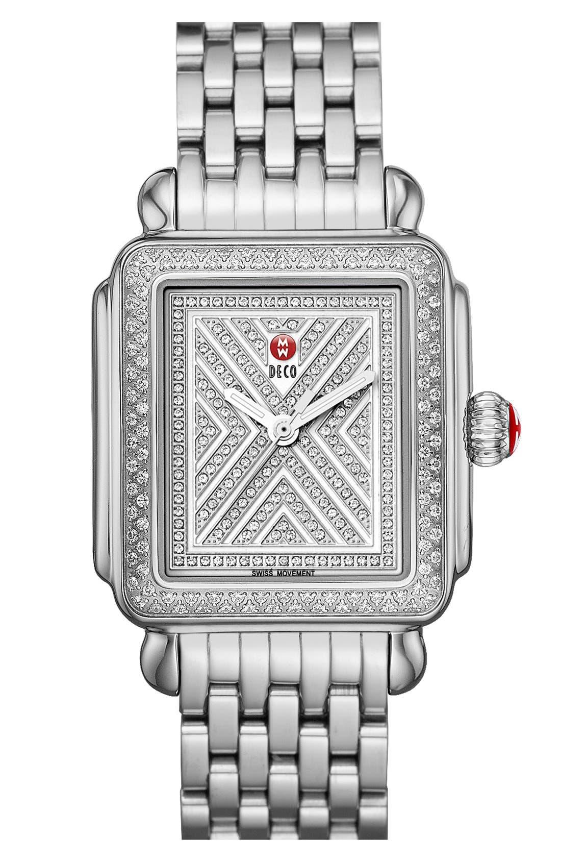 MICHELE, Deco 18mm Bracelet Watchband, Alternate thumbnail 5, color, SILVER