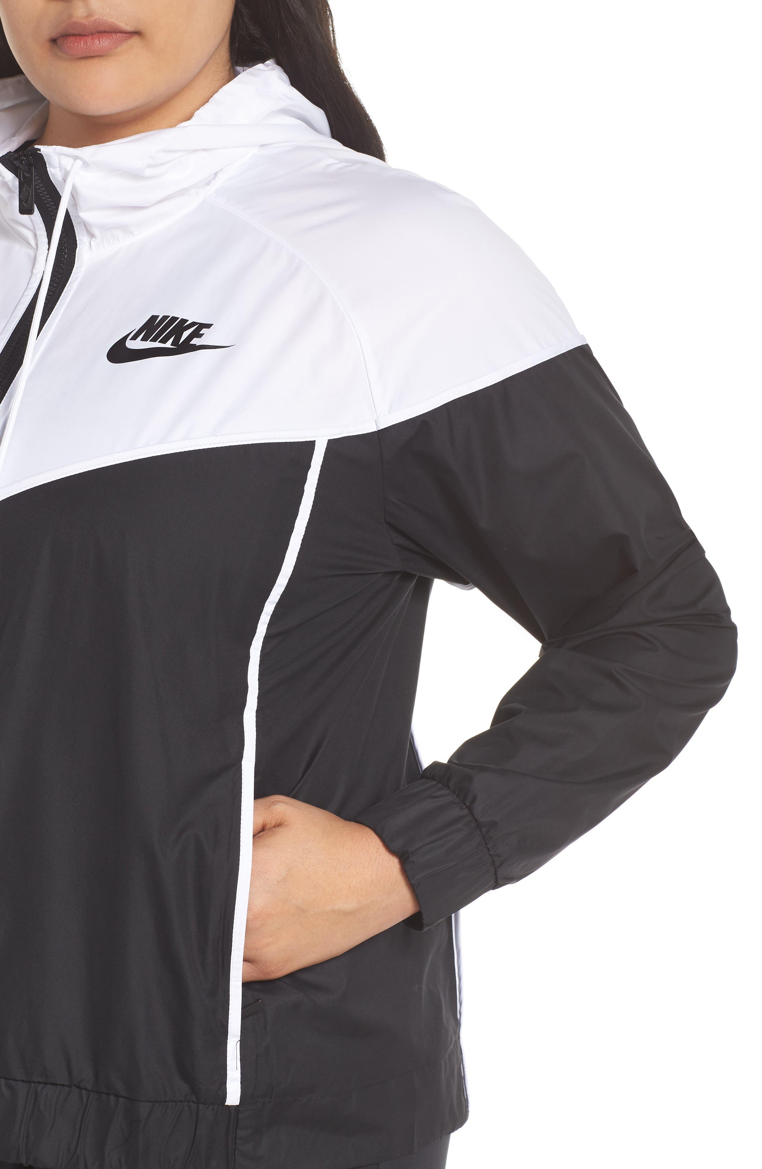 NIKE, Sportswear Windrunner Jacket, Alternate thumbnail 5, color, BLACK/ WHITE/ BLACK