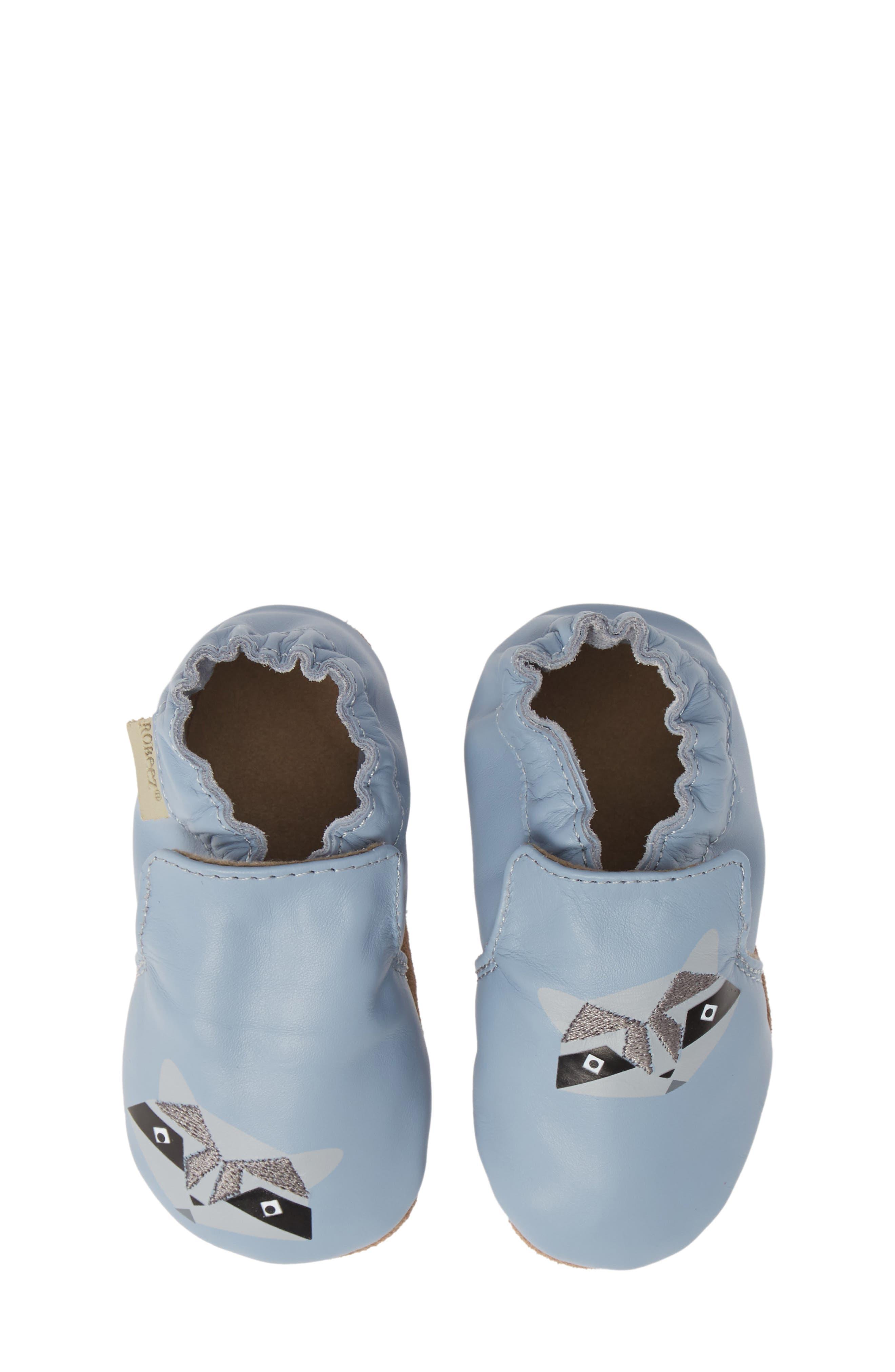ROBEEZ<SUP>®</SUP>, Raccoon Buddies Crib Shoe, Alternate thumbnail 5, color, BLUE