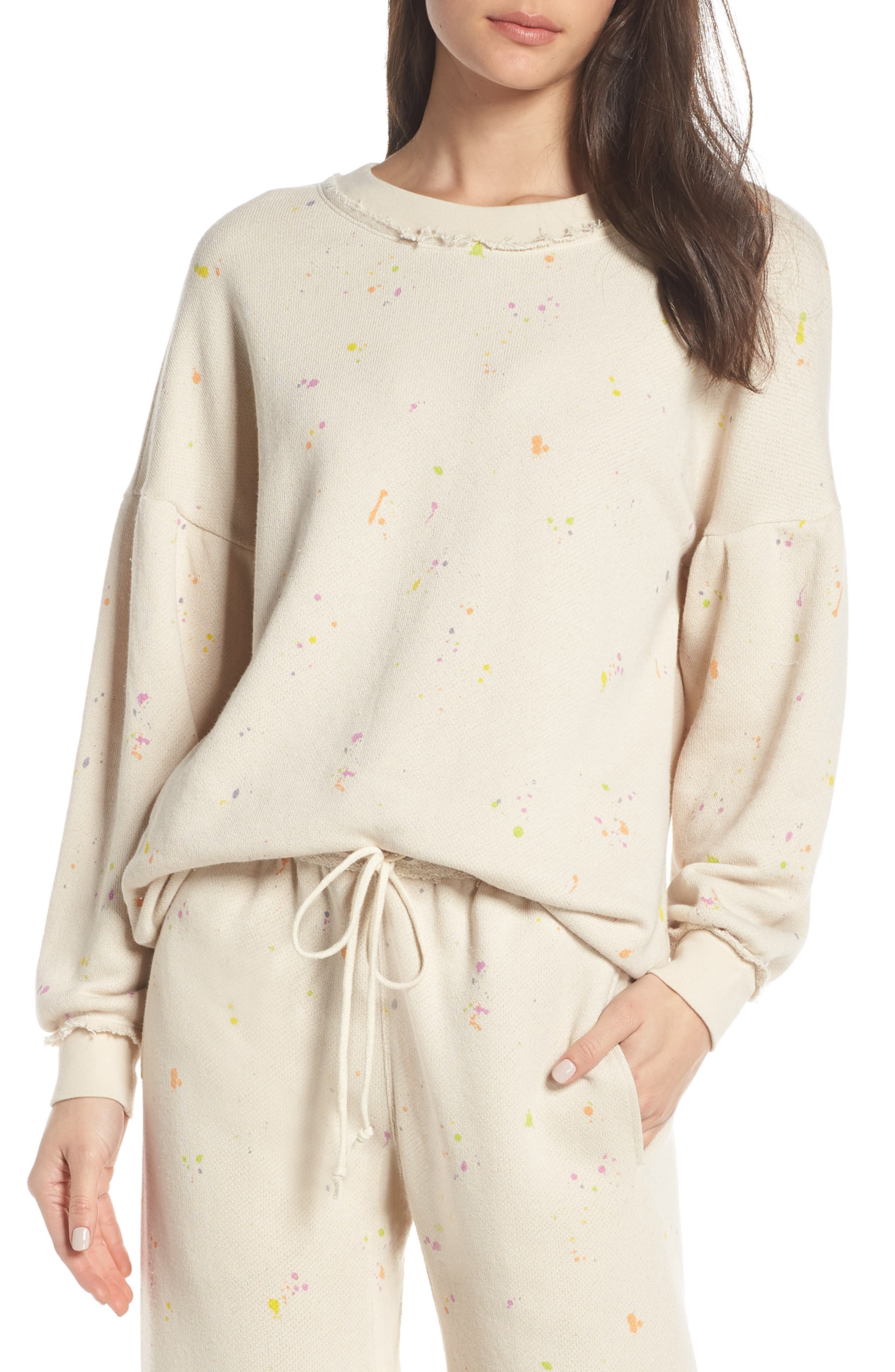 FREE PEOPLE MOVEMENT, Make It Count Printed Sweatshirt, Main thumbnail 1, color, IVORY