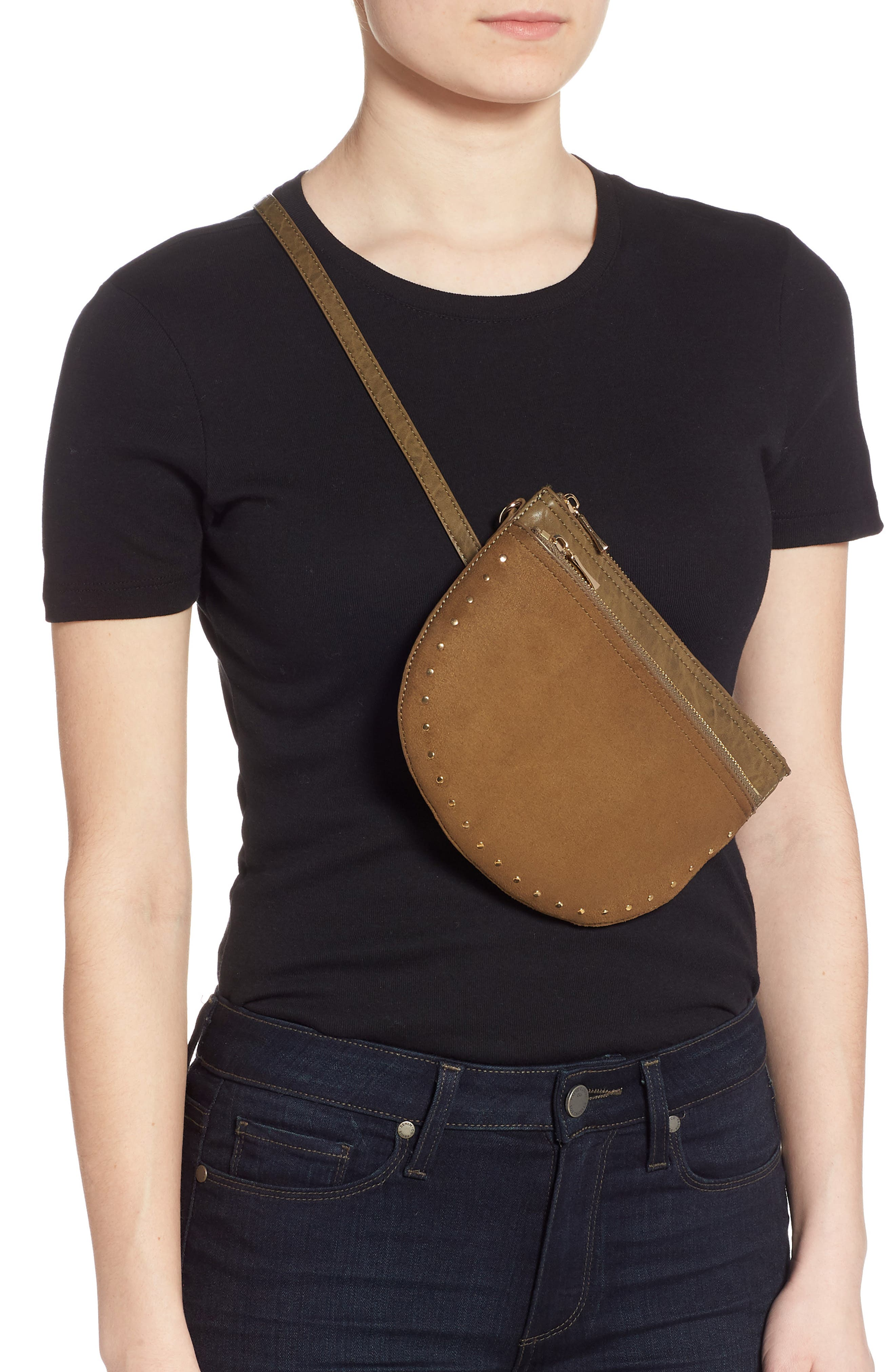 SOLE SOCIETY, Jeana Studded Convertible Belt Bag, Alternate thumbnail 3, color, OLIVE