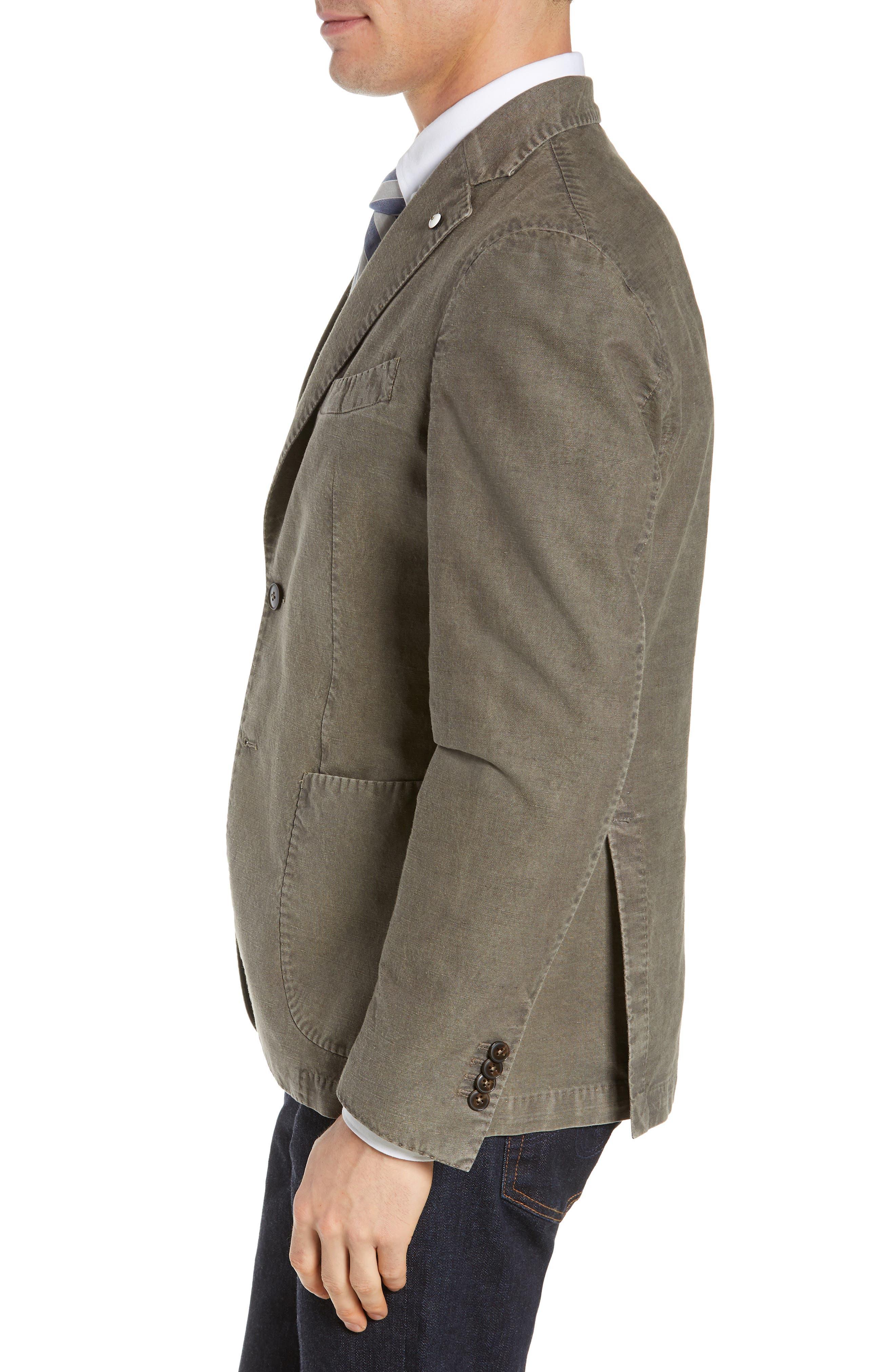 L.B.M. 1911, Lubiam Trim Fit Solid Cotton & Linen Sport Coat, Alternate thumbnail 3, color, MEDIUM BROWN