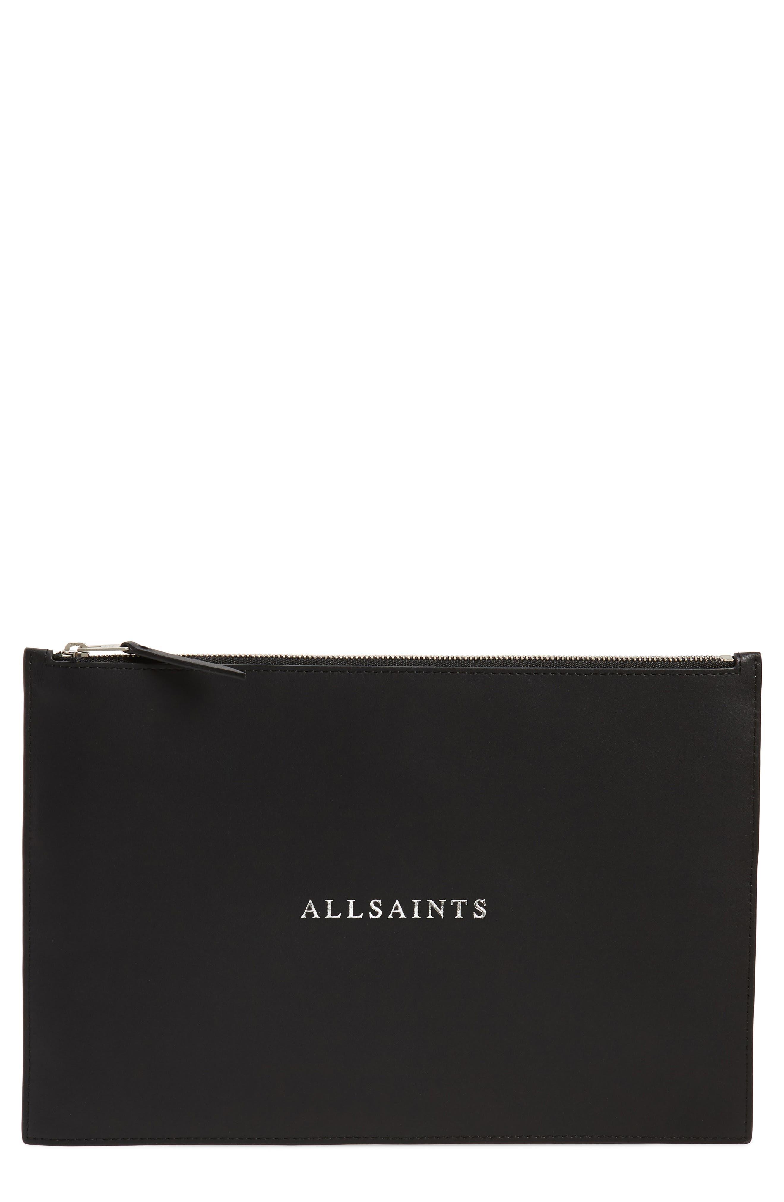ALLSAINTS Clip Leather Clutch, Main, color, BLACK