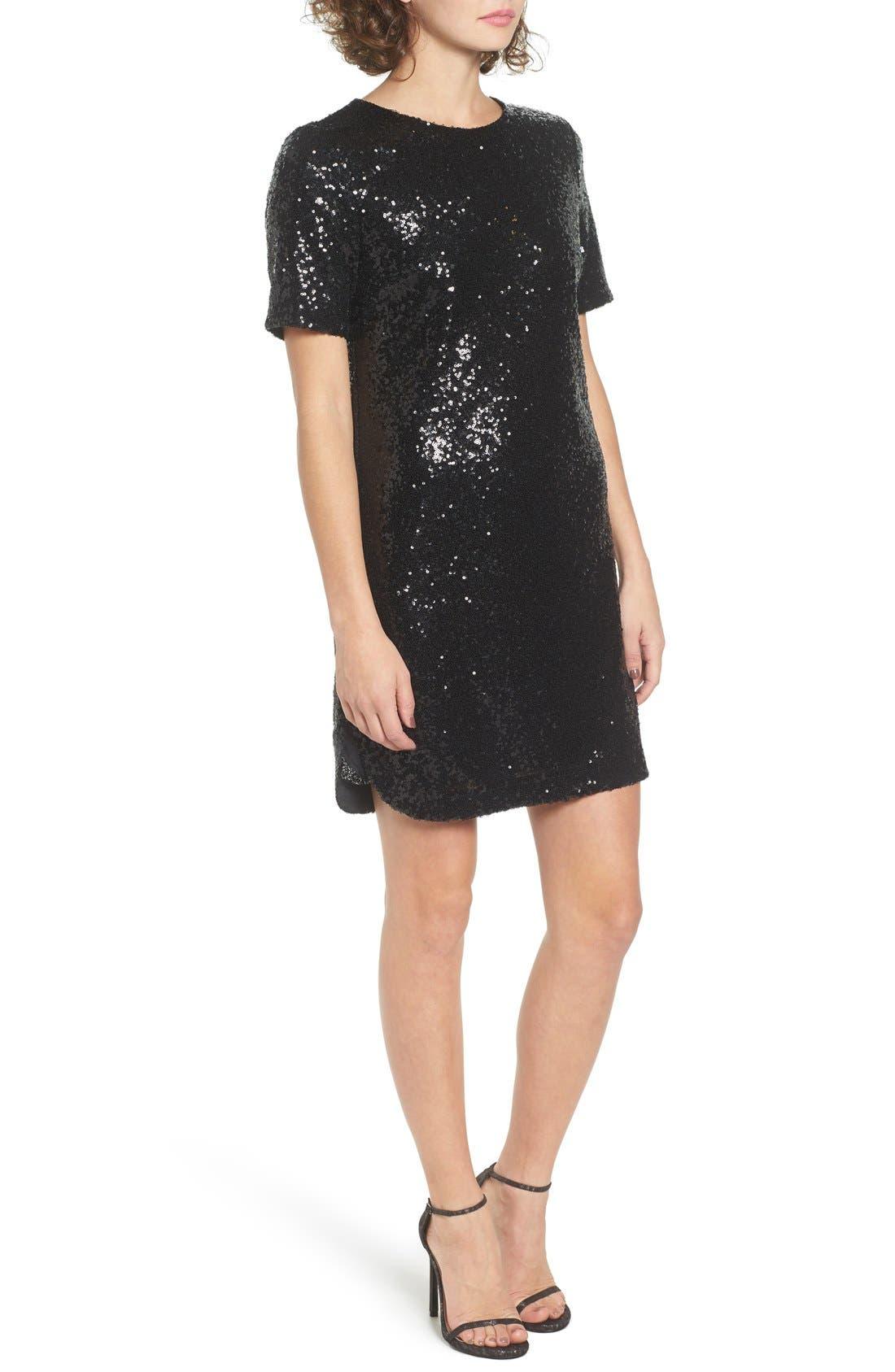 SOPRANO, Sequin T-Shirt Dress, Alternate thumbnail 3, color, 001