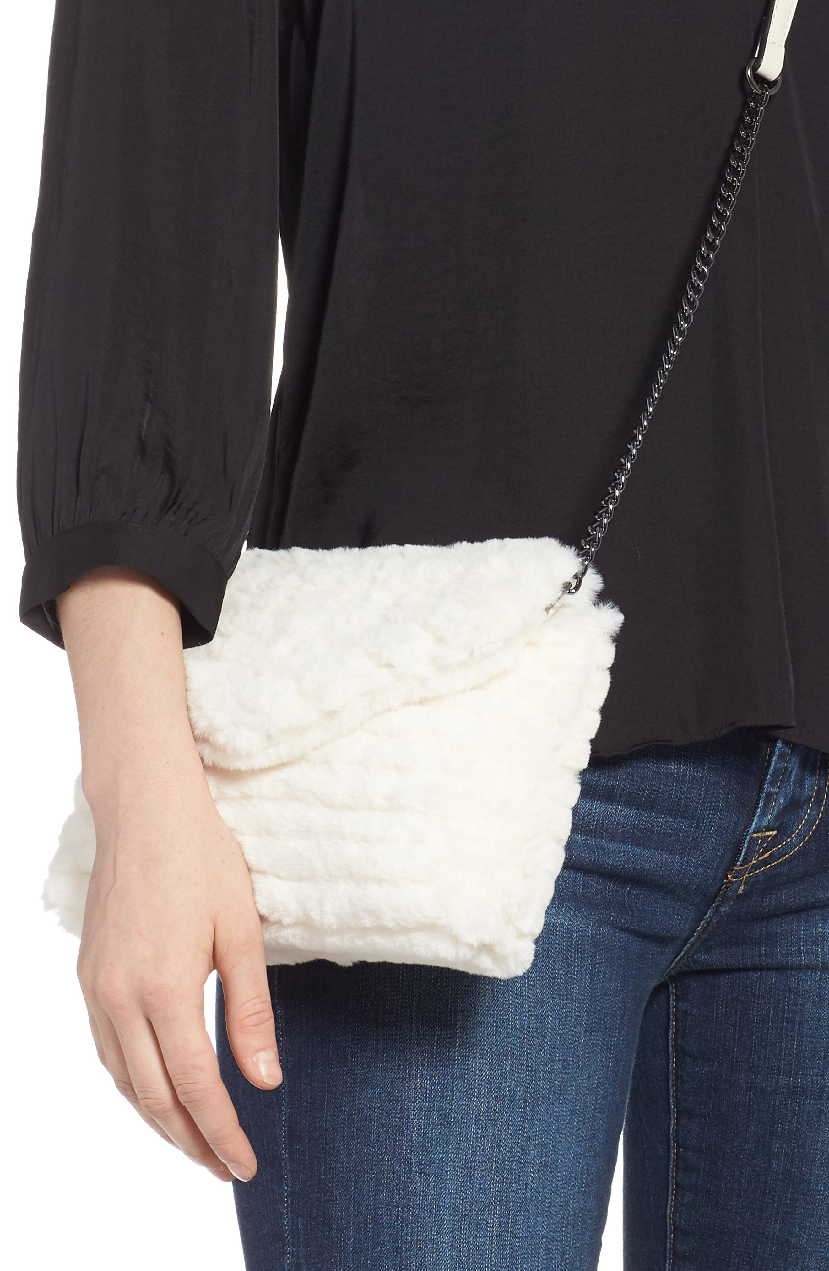 VIOLET RAY NEW YORK, Quilted Faux Fur Crossbody Bag, Alternate thumbnail 2, color, 100