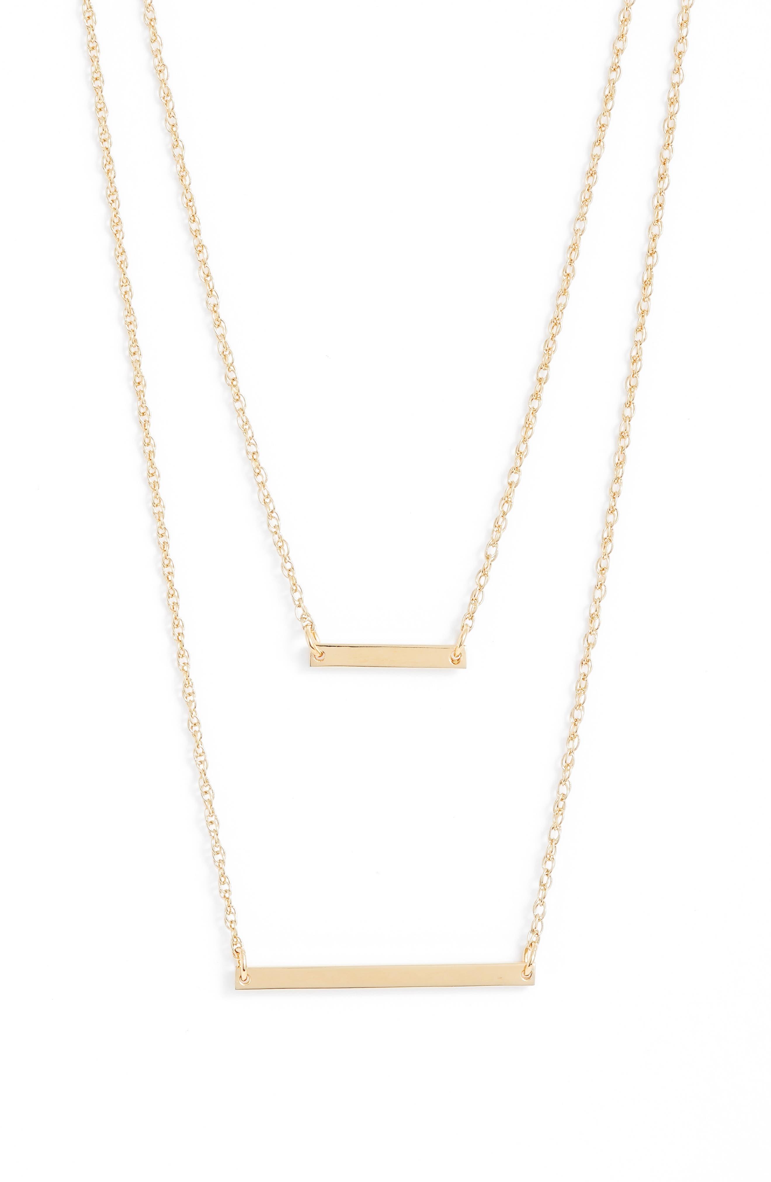 JENNIFER ZEUNER Cynthia Layered Pendant Necklace, Main, color, GOLD VERMEIL