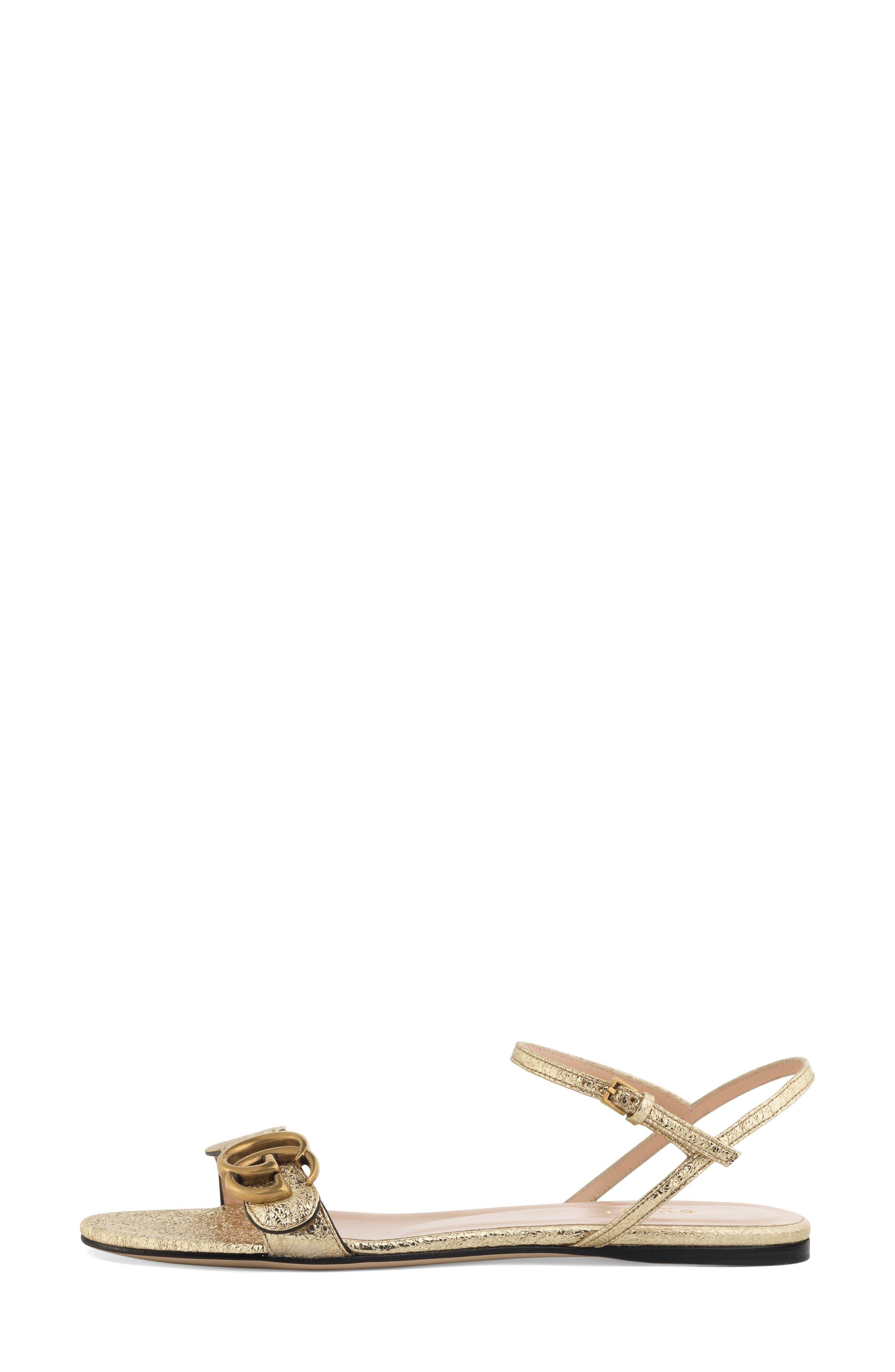GUCCI, Marmont Quarter Strap Flat Sandal, Alternate thumbnail 2, color, PLATINO