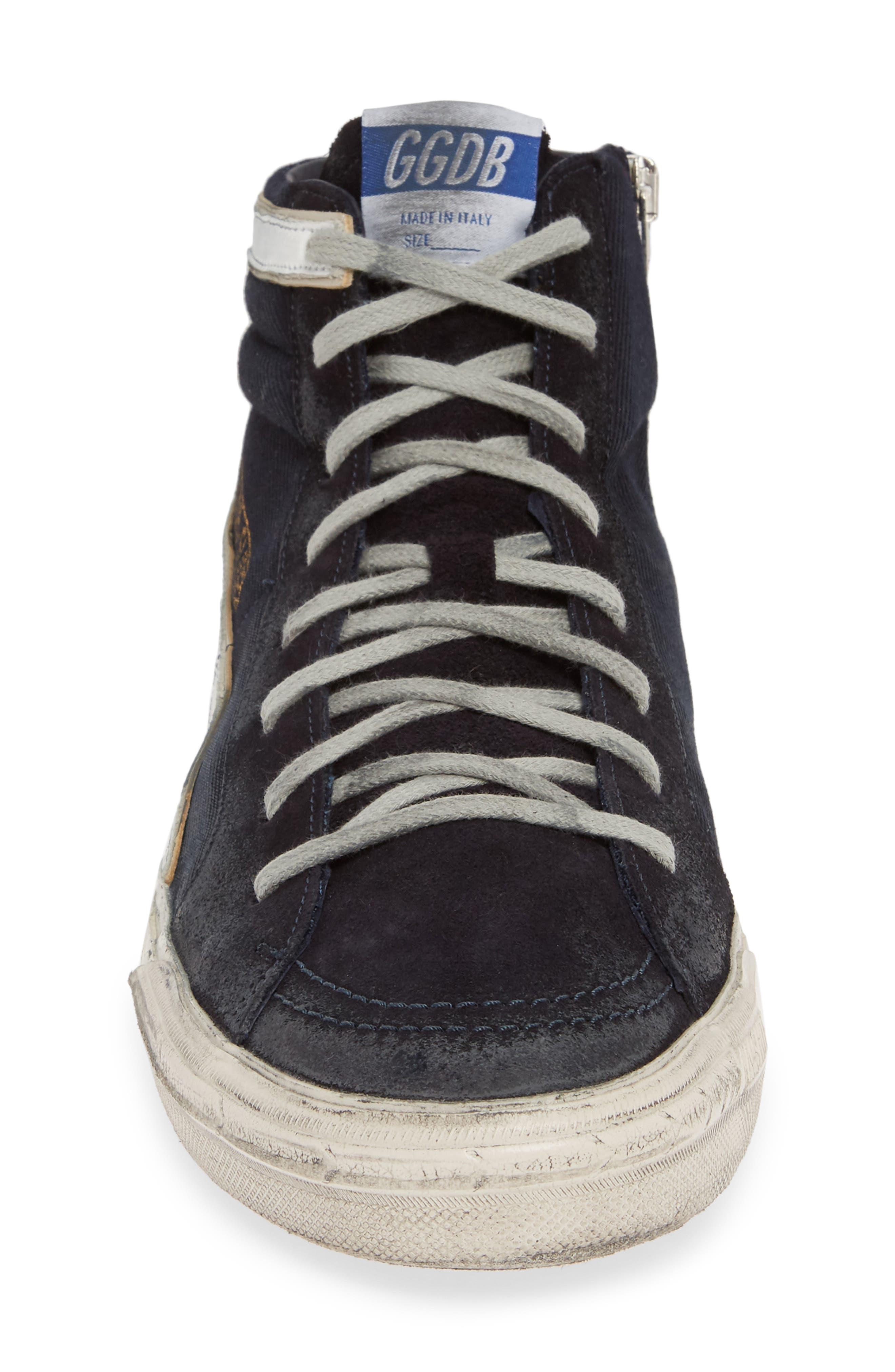 GOLDEN GOOSE, 'Slide' Sneaker, Alternate thumbnail 4, color, NAVY DENIM