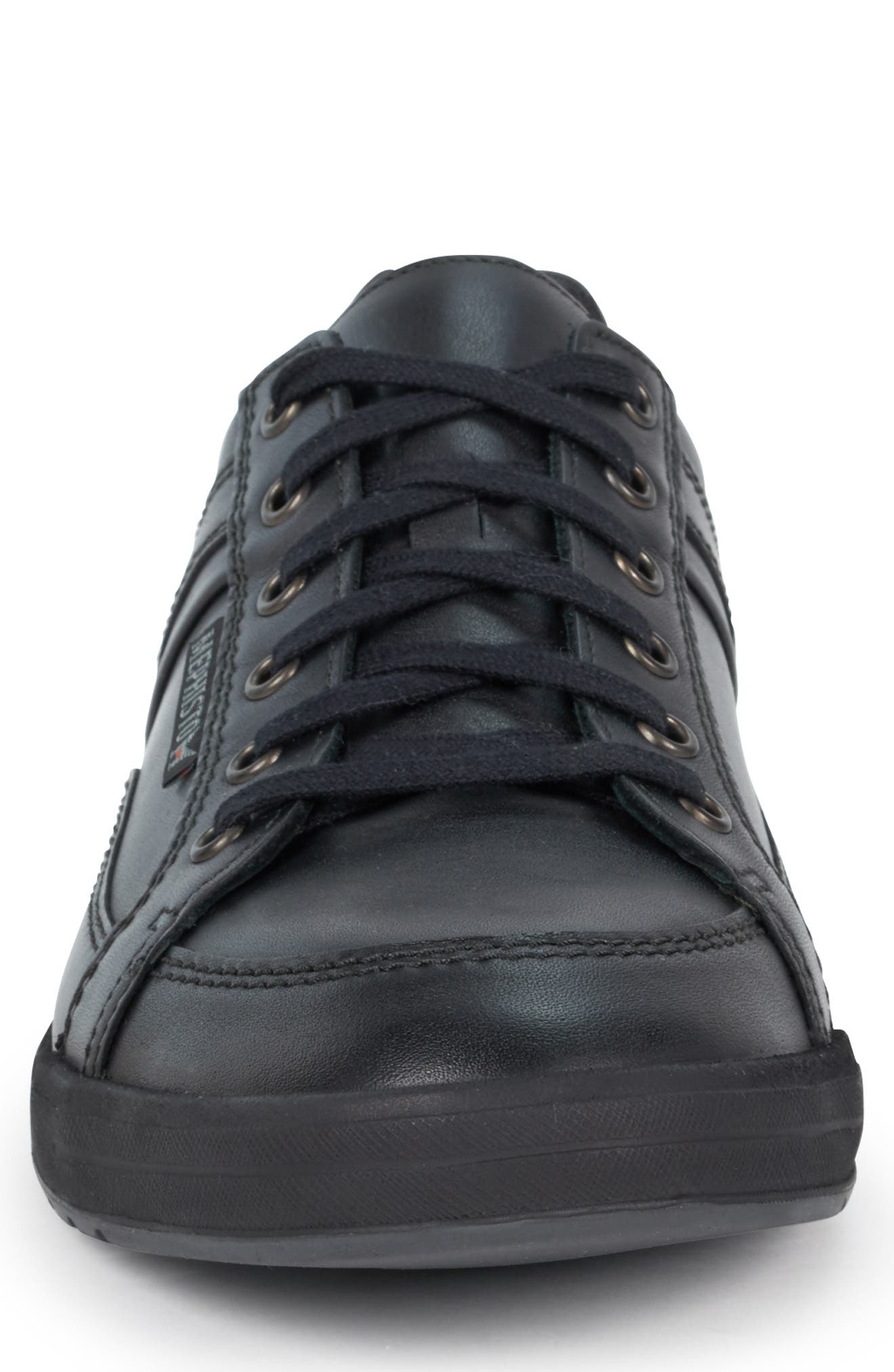 MEPHISTO, 'Rodrigo' Sneaker, Alternate thumbnail 4, color, BLACK/BLACK LEATHER