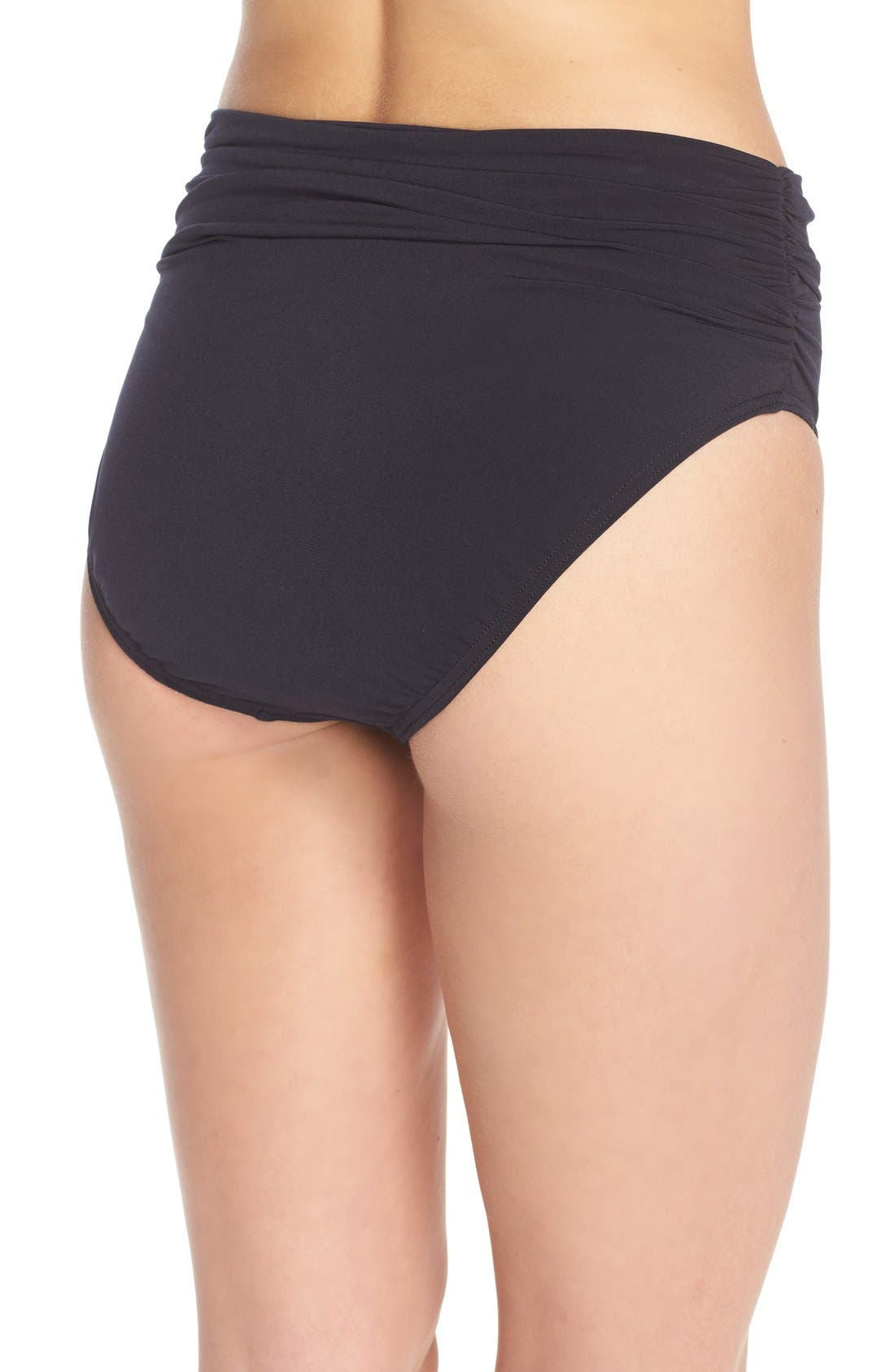 MAGICSUIT<SUP>®</SUP>, Ruched Bikini Bottoms, Alternate thumbnail 7, color, BLACK TONES