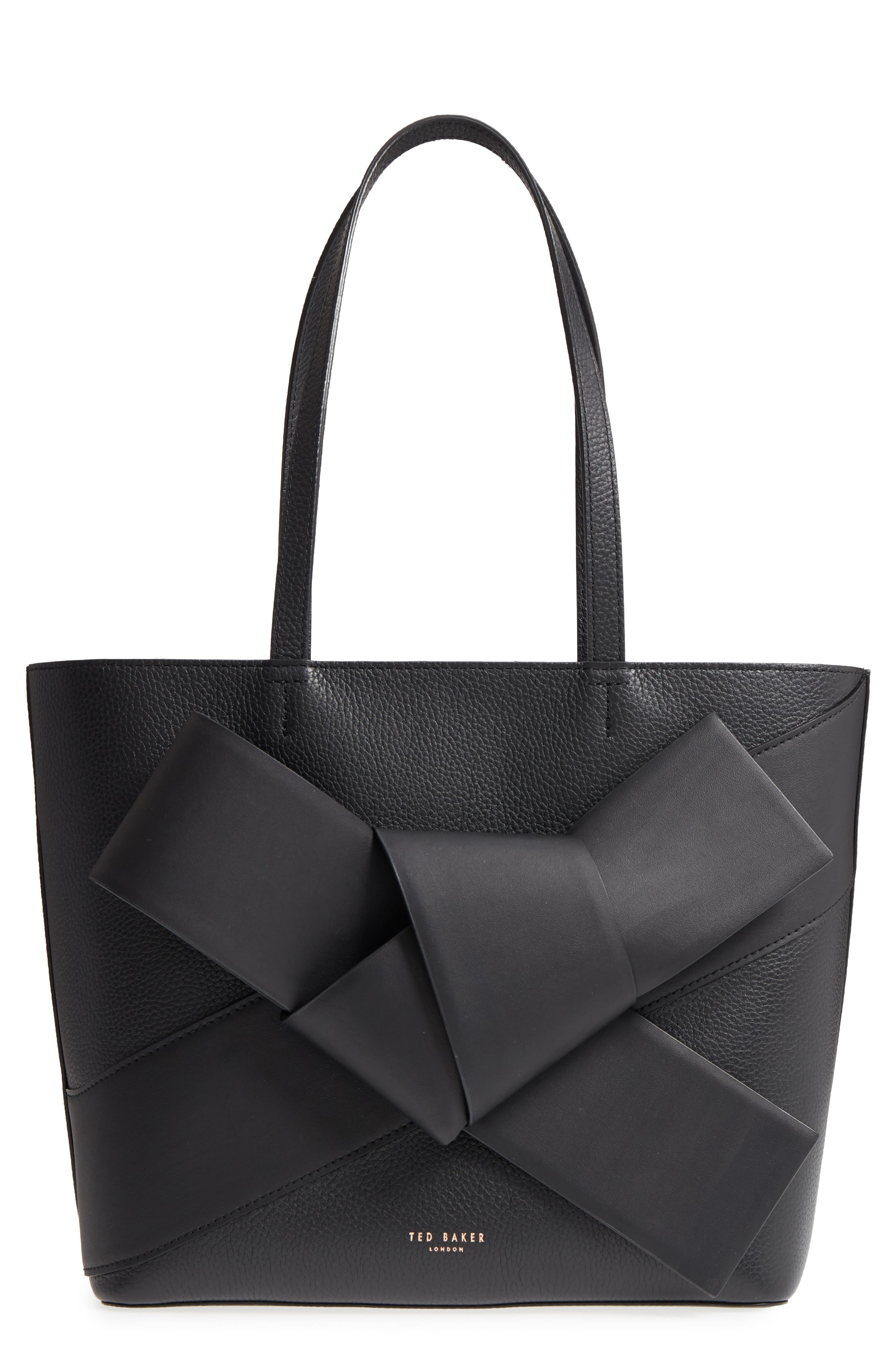 TED BAKER LONDON Giant Knot Leather Shopper, Main, color, 001