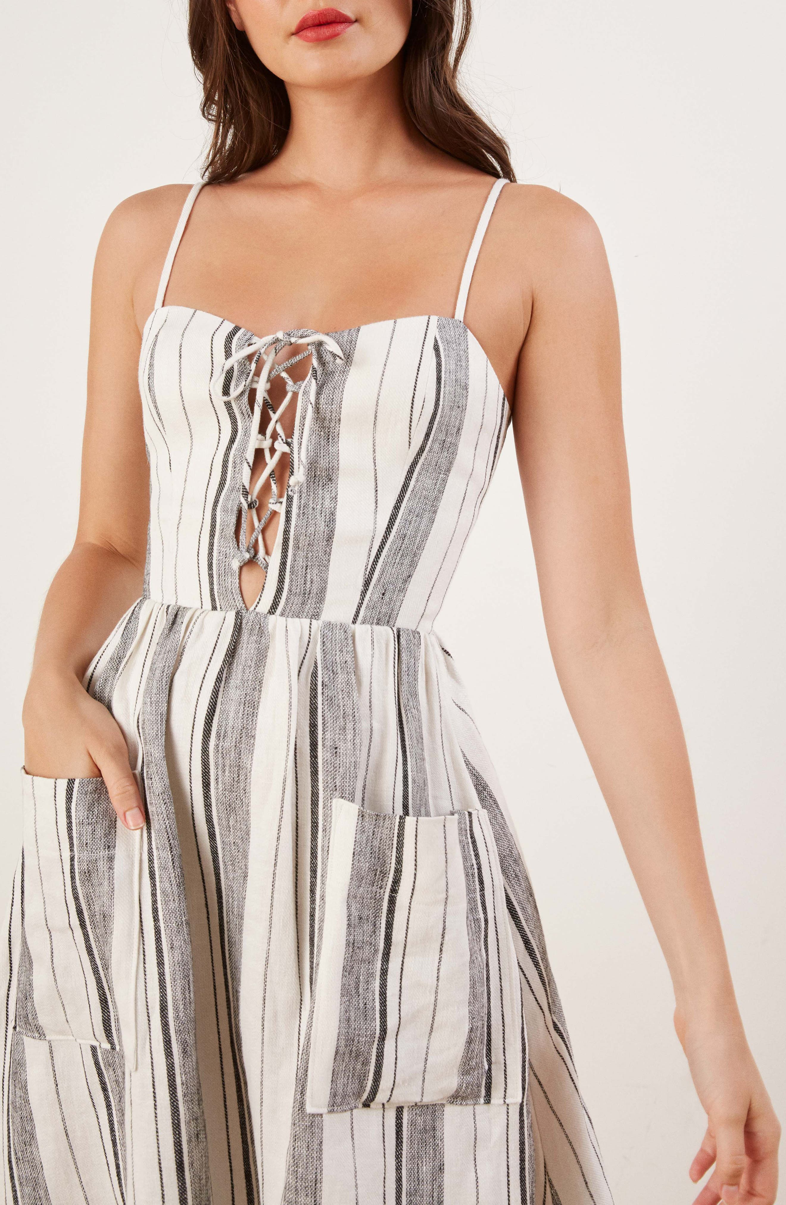 REFORMATION, Ellen Linen Midi Dress, Alternate thumbnail 4, color, 100