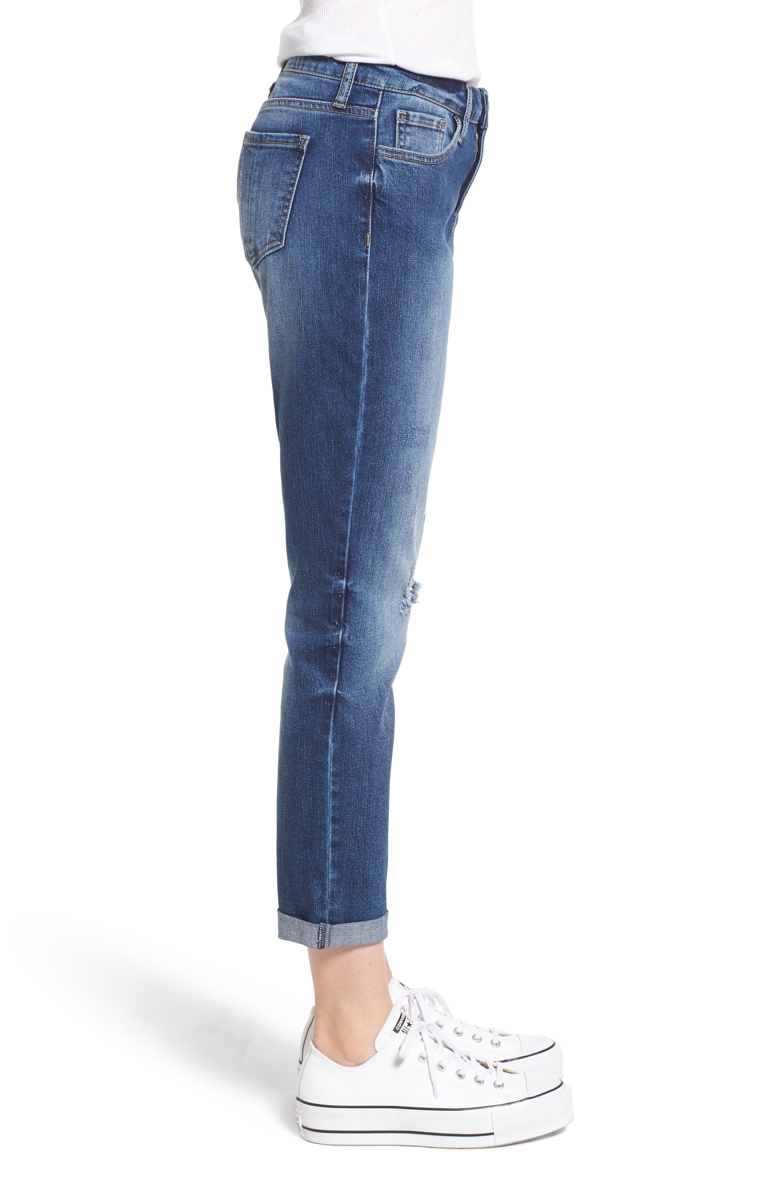 PROSPERITY DENIM, Ripped Girlfriend Jeans, Alternate thumbnail 4, color, BLUE