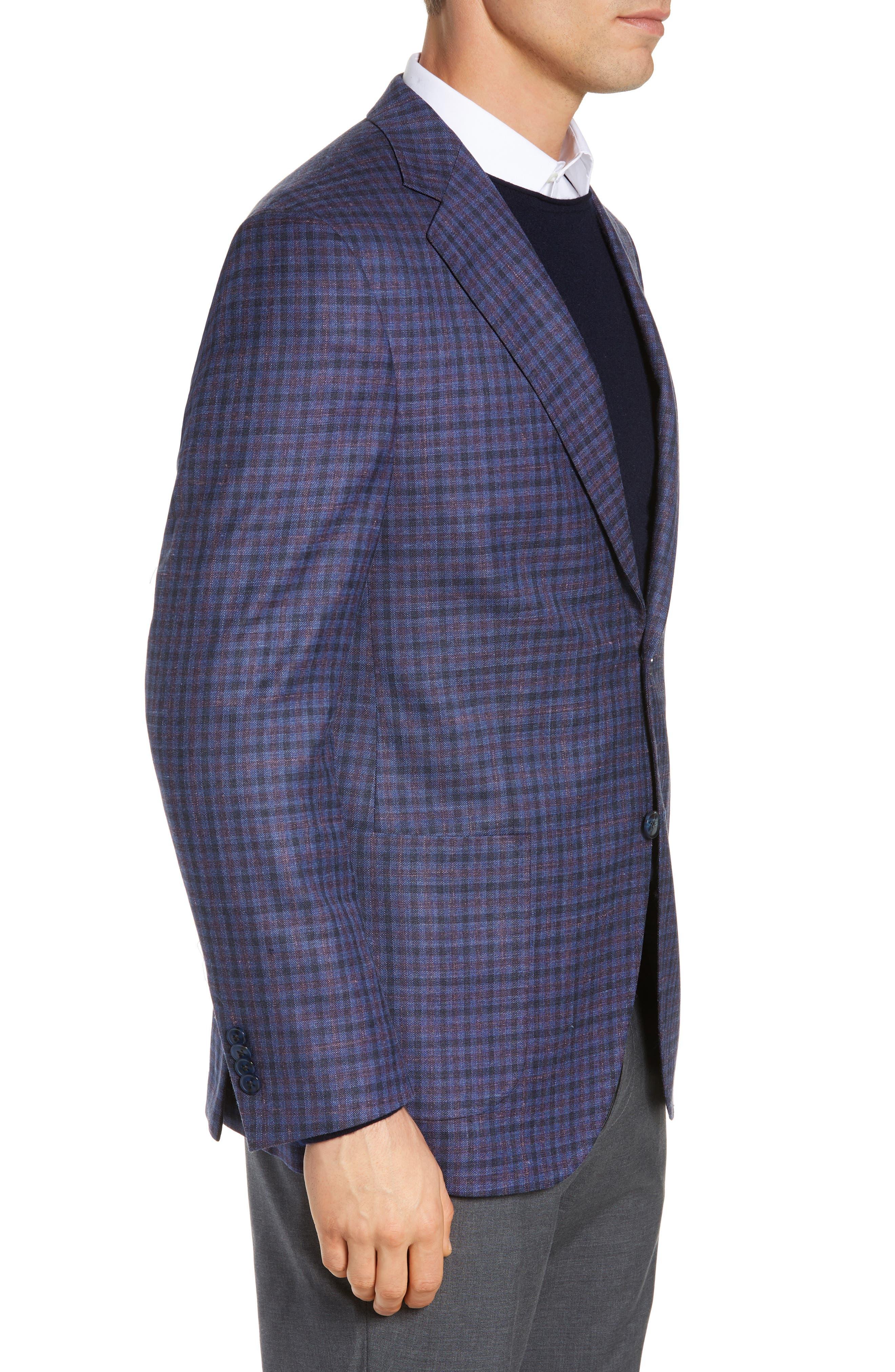 PETER MILLAR, Hyperlight Classic Fit Check Wool Blend Sport Coat, Alternate thumbnail 3, color, BLUE