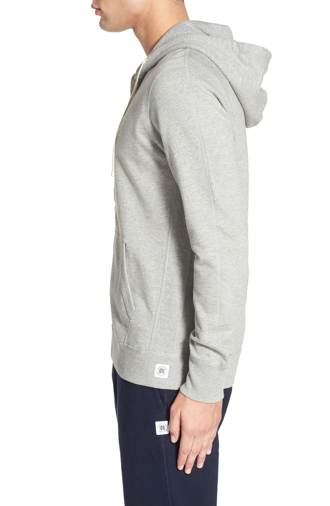 REIGNING CHAMP, Trim Fit Full Zip Hoodie, Alternate thumbnail 4, color, HEATHER GREY