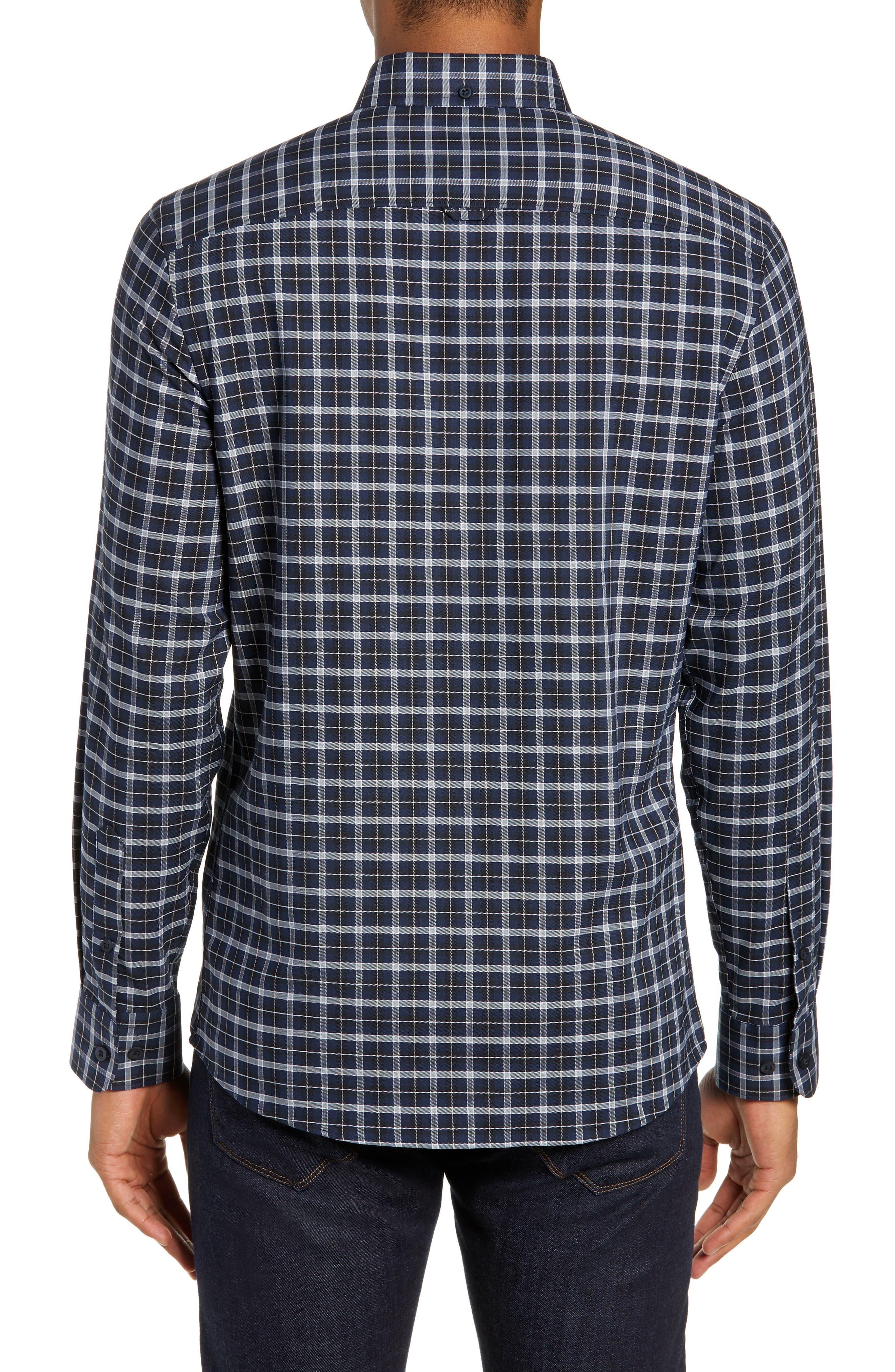 NORDSTROM MEN'S SHOP, Tech-Smart Slim Fit Check Sport Shirt, Alternate thumbnail 3, color, NAVY IRIS BLACK CHECK