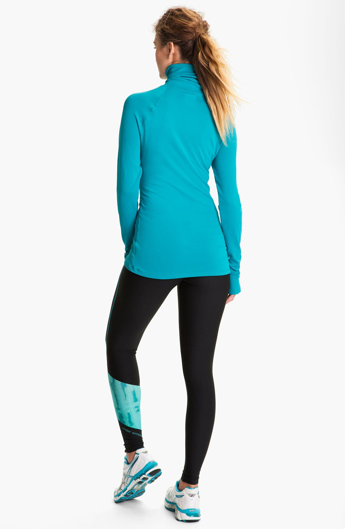 UNDER ARMOUR, ColdGear<sup>®</sup> Print Blocked Tights, Alternate thumbnail 5, color, 010