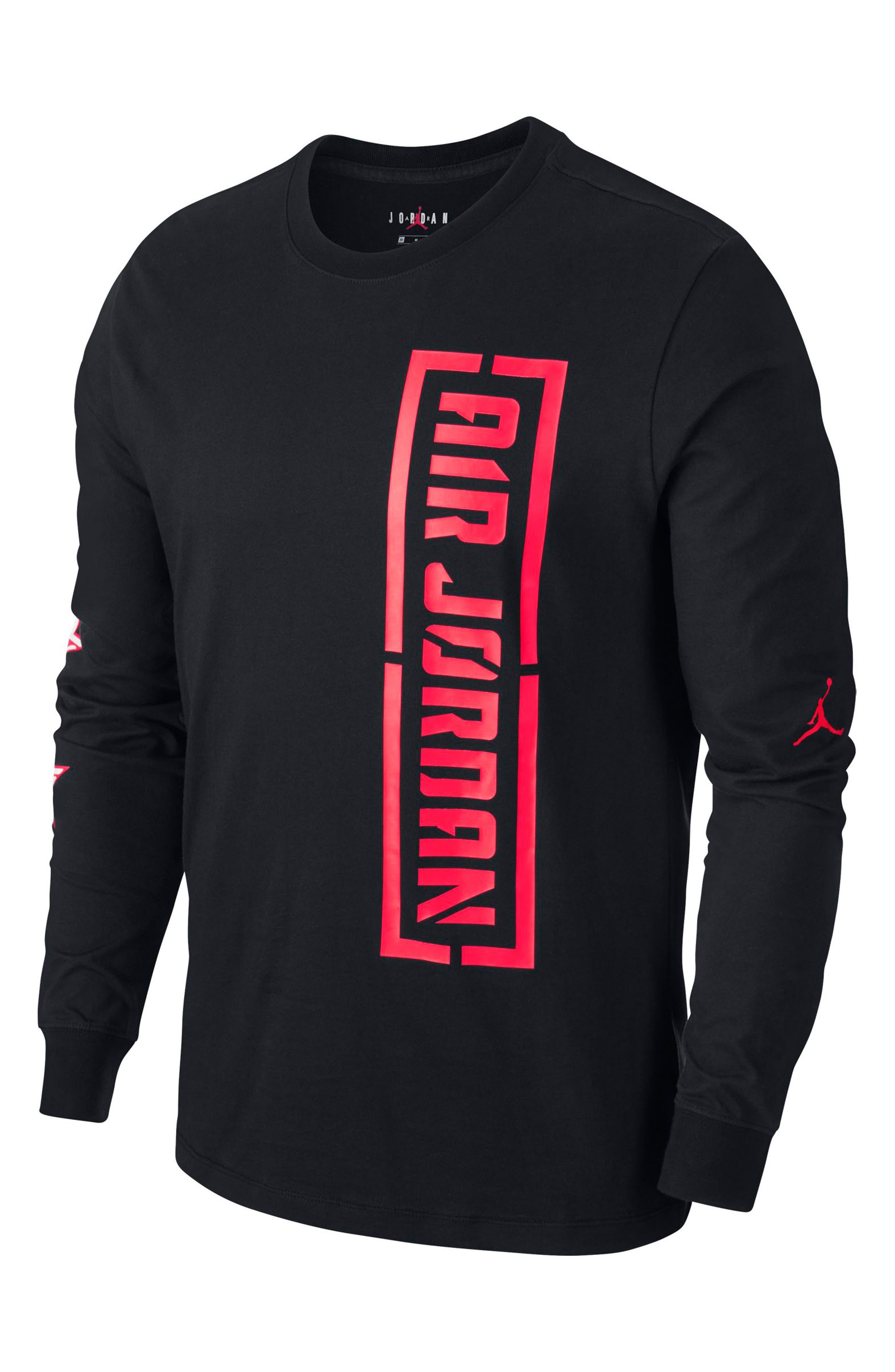JORDAN, JSW Long Sleeve T-Shirt, Alternate thumbnail 3, color, BLACK/ INFRARED 23