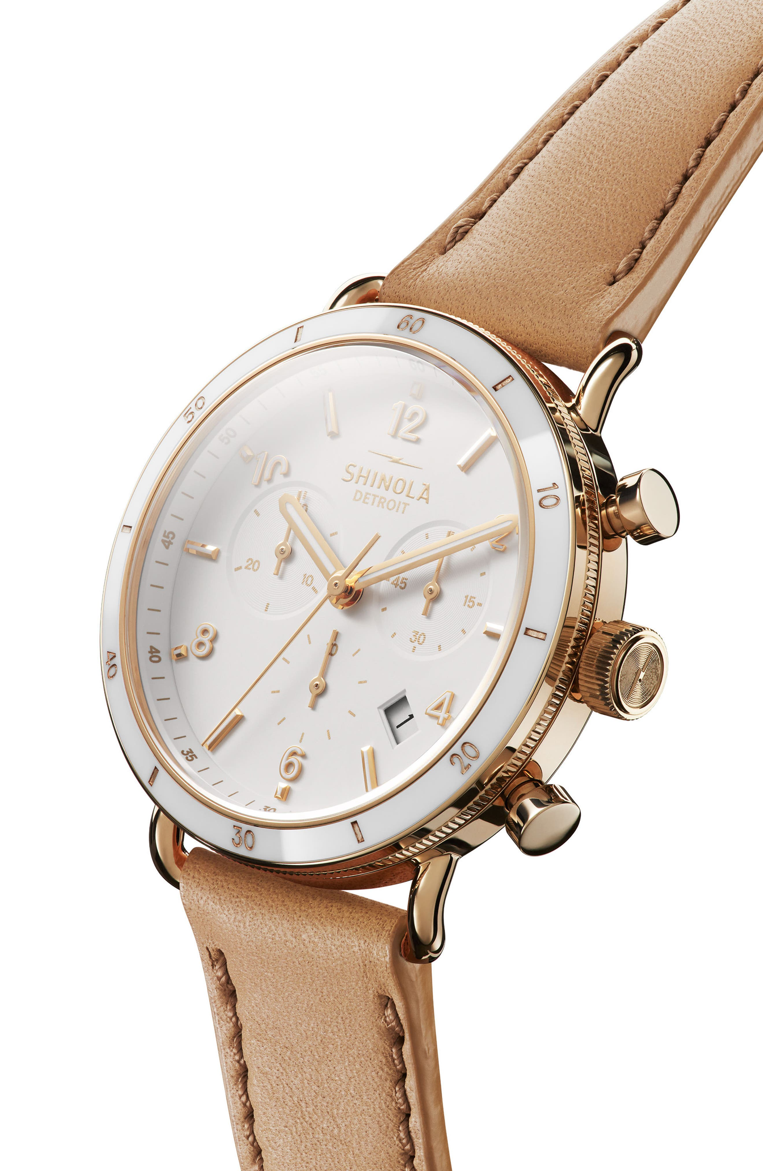 SHINOLA, The Canfield Chrono Leather Strap Watch, 40mm, Alternate thumbnail 5, color, CAMEL/ WHITE/ GOLD