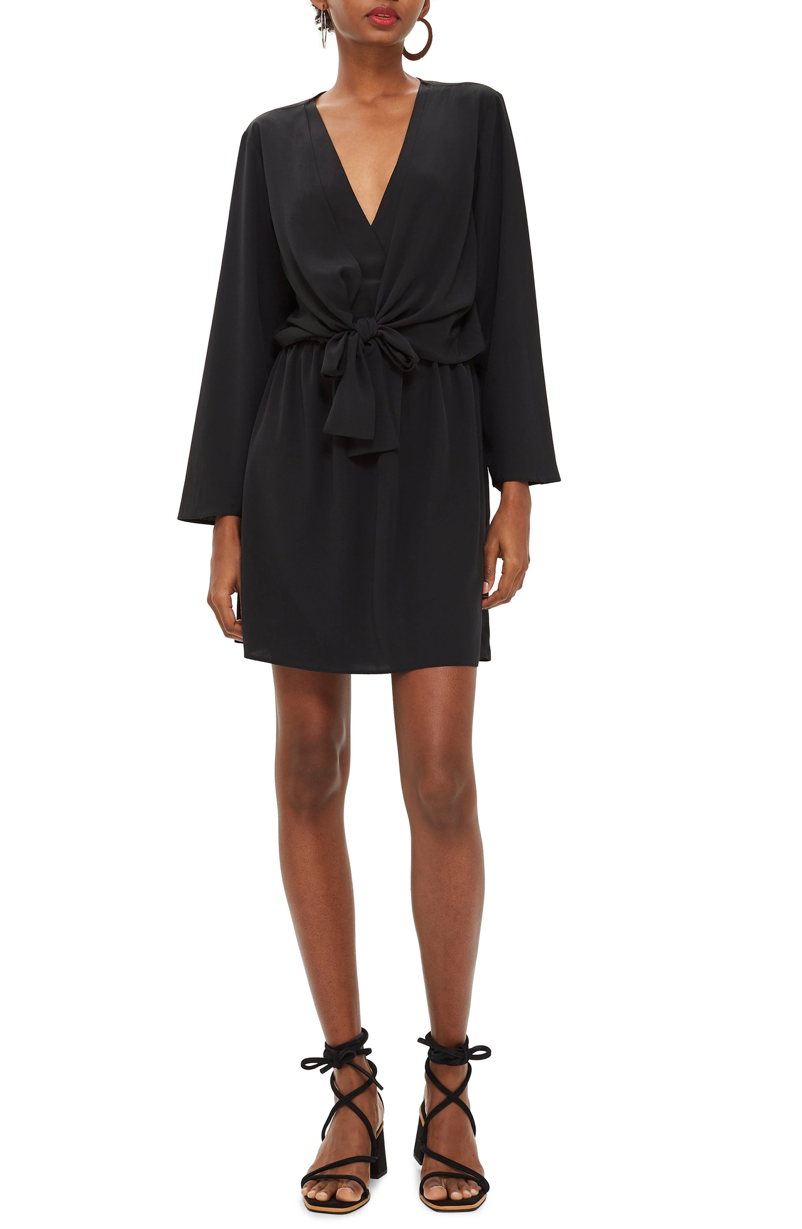TOPSHOP, Tiffany Knot Minidress, Main thumbnail 1, color, BLACK