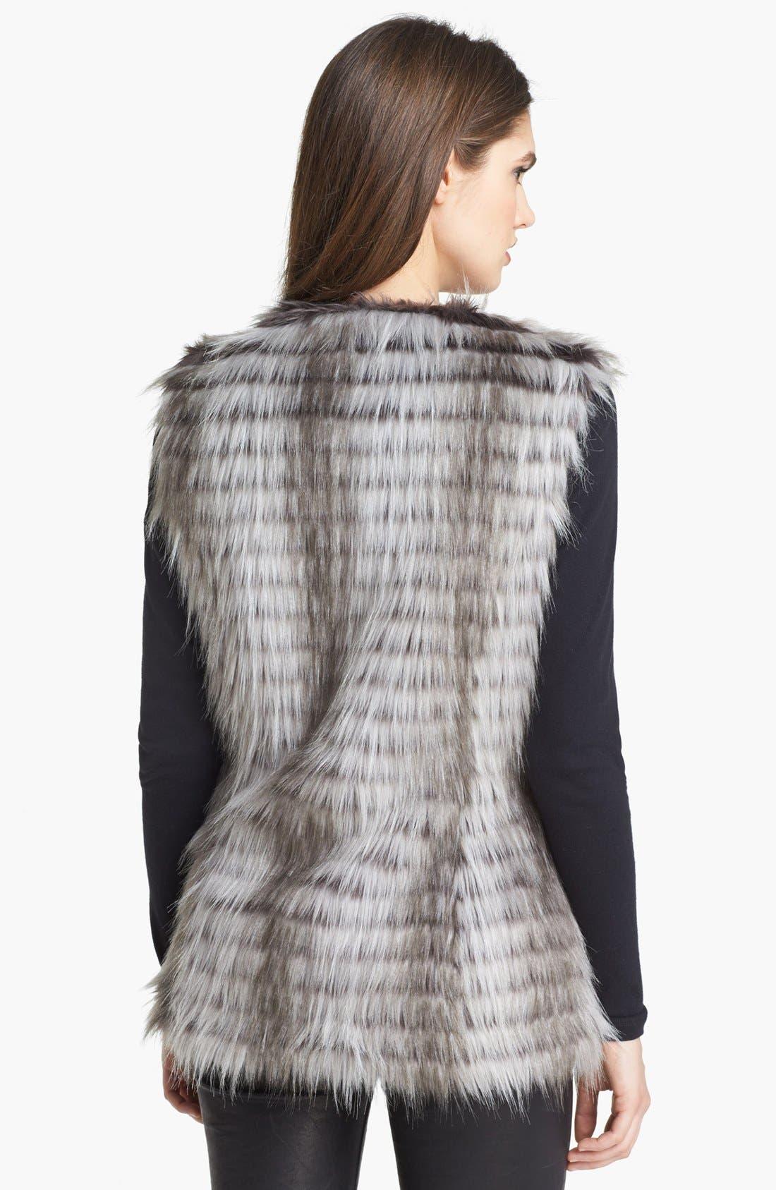 VIA SPIGA, Faux Fur Vest, Alternate thumbnail 3, color, 020