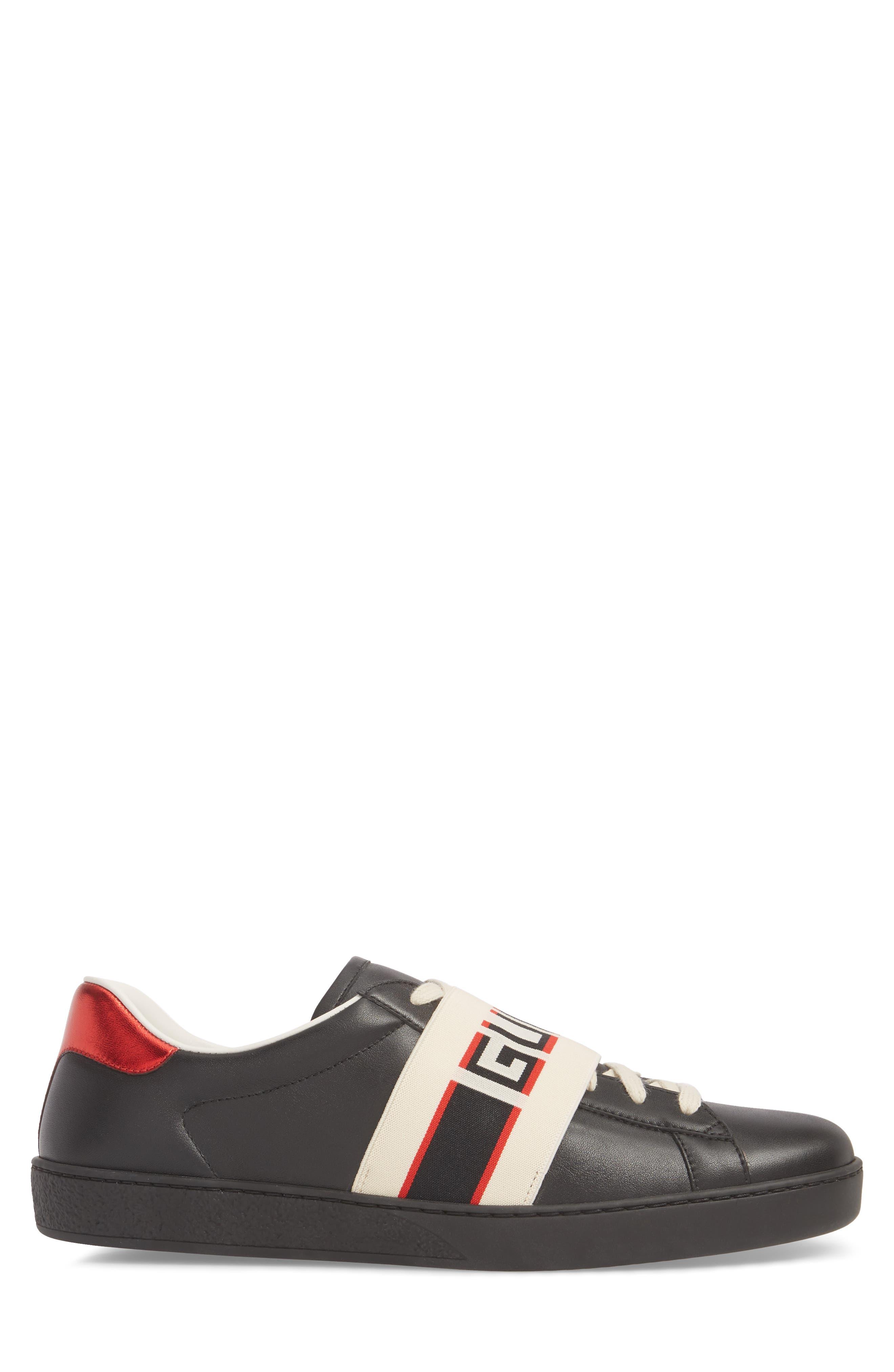 GUCCI, New Ace Stripe Leather Sneaker, Alternate thumbnail 3, color, BLACK