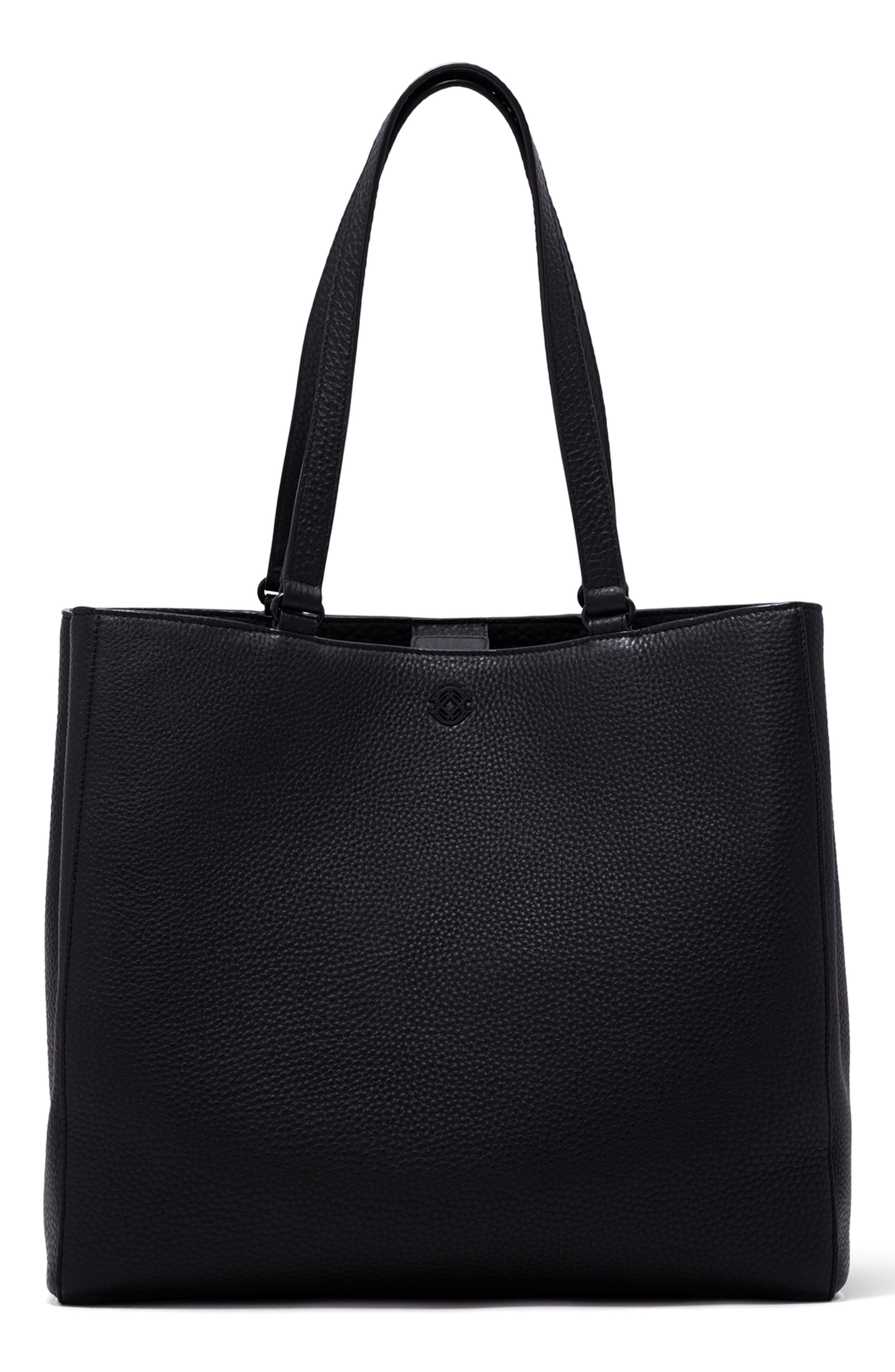 DAGNE DOVER, Large Allyn Leather Tote, Main thumbnail 1, color, ONYX