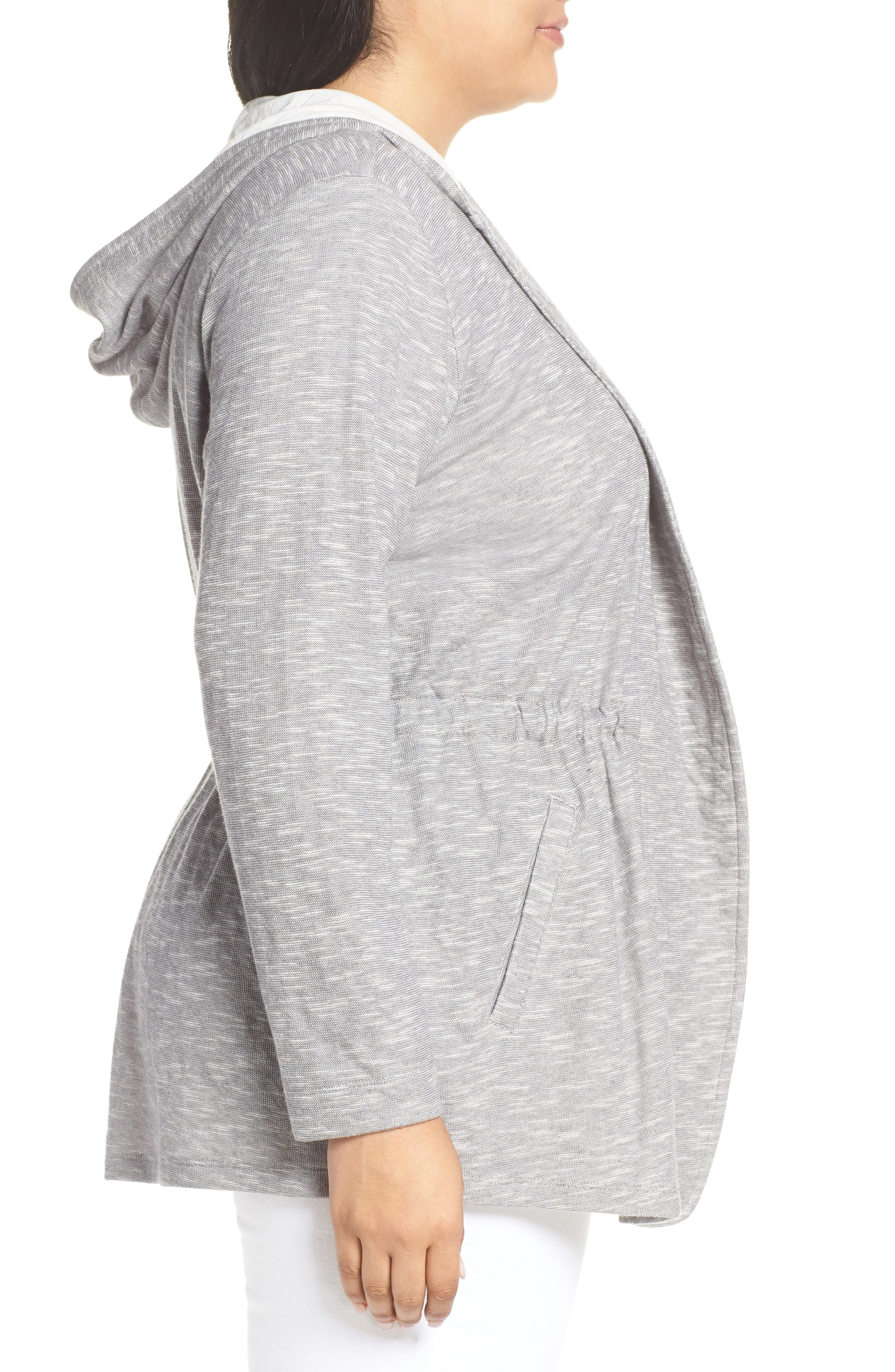 CASLON<SUP>®</SUP>, Open Front Hooded Cardigan, Alternate thumbnail 4, color, 030