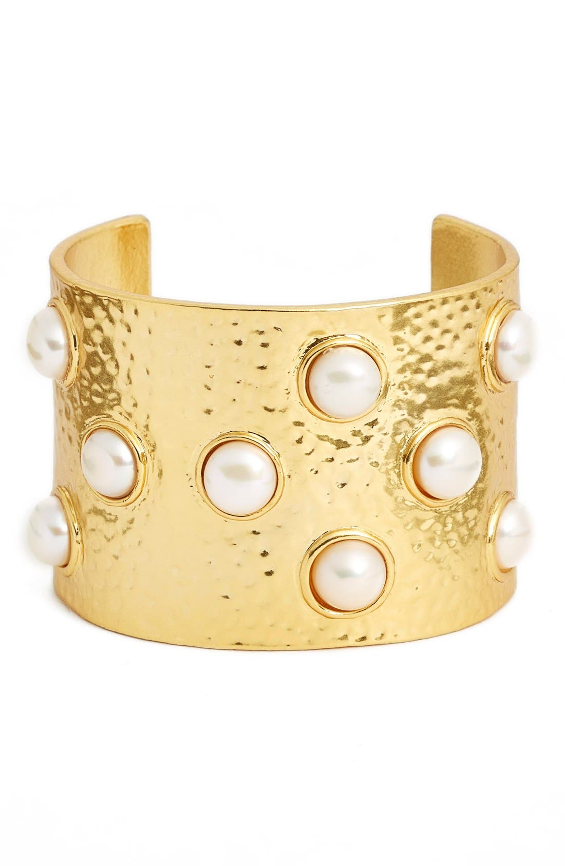 KARINE SULTAN Hammered Imitation Pearl Cuff, Main, color, GOLD