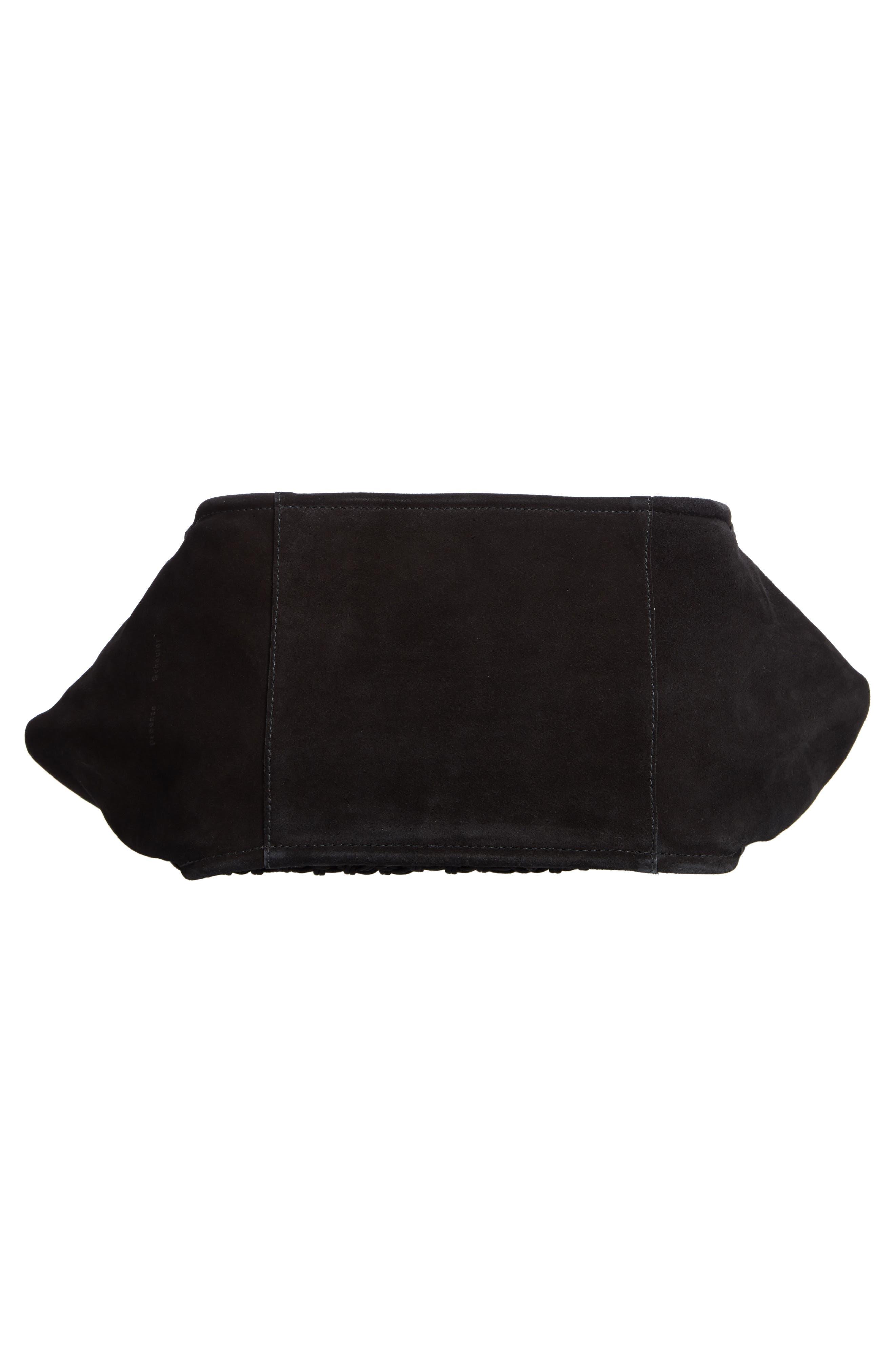 PROENZA SCHOULER, Large Macramé Tote, Alternate thumbnail 6, color, BLACK/ BLACK
