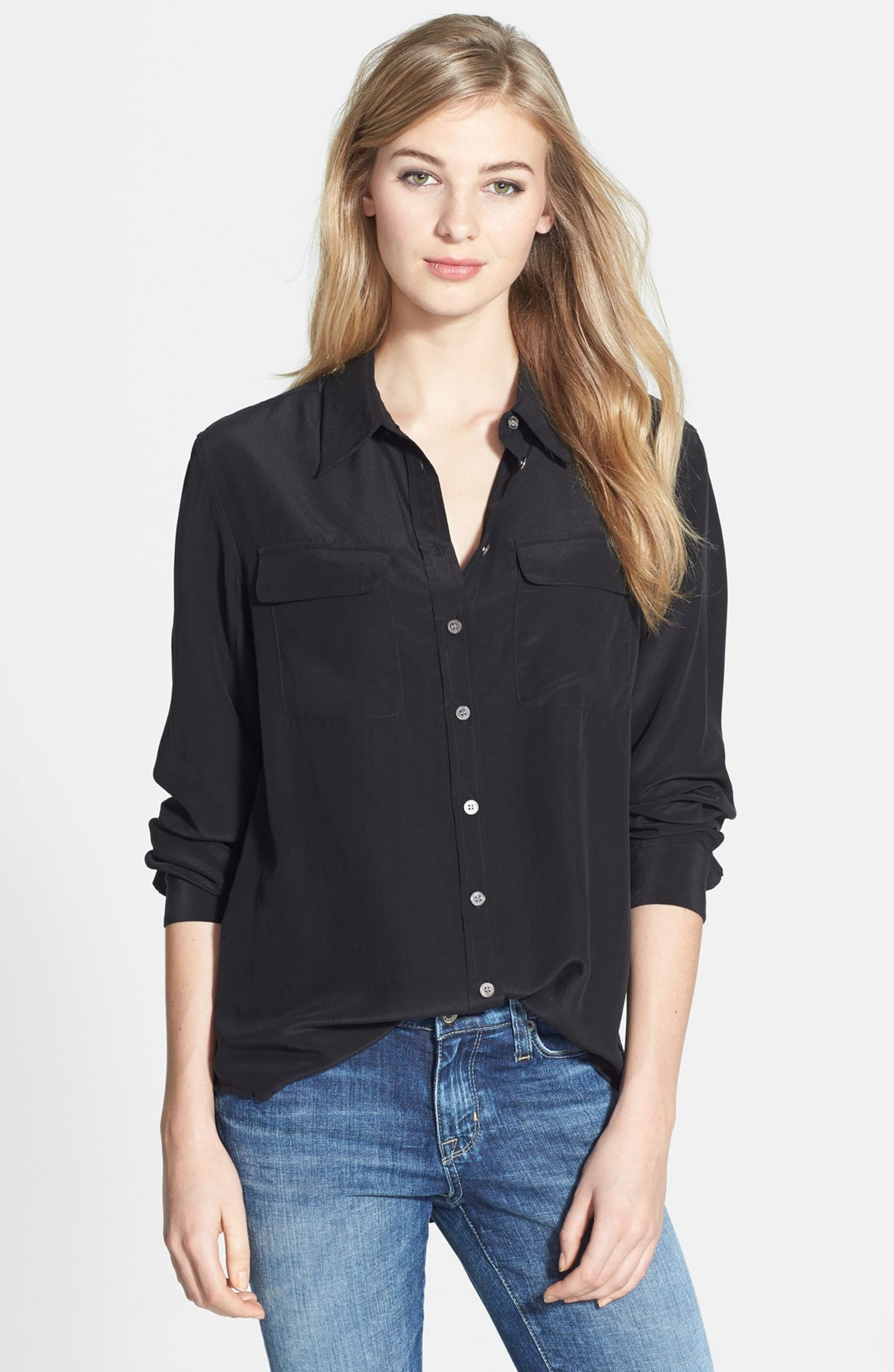 71a09e59897c93 Two by Vince Camuto Silk Utility Blouse (Regular   Petite)