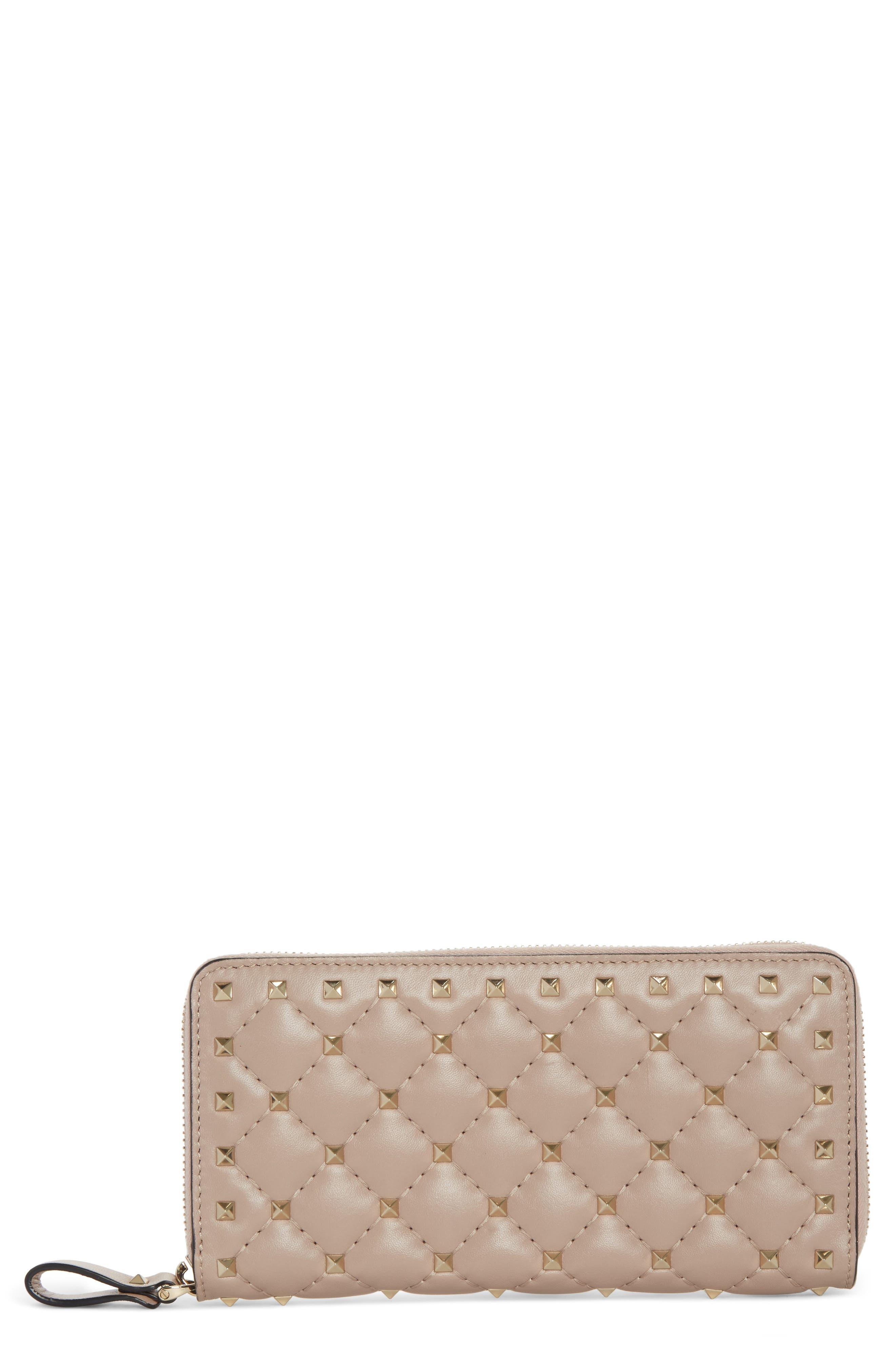 VALENTINO GARAVANI Rockstud Spike Matelassé Leather Continental Wallet, Main, color, POUDRE